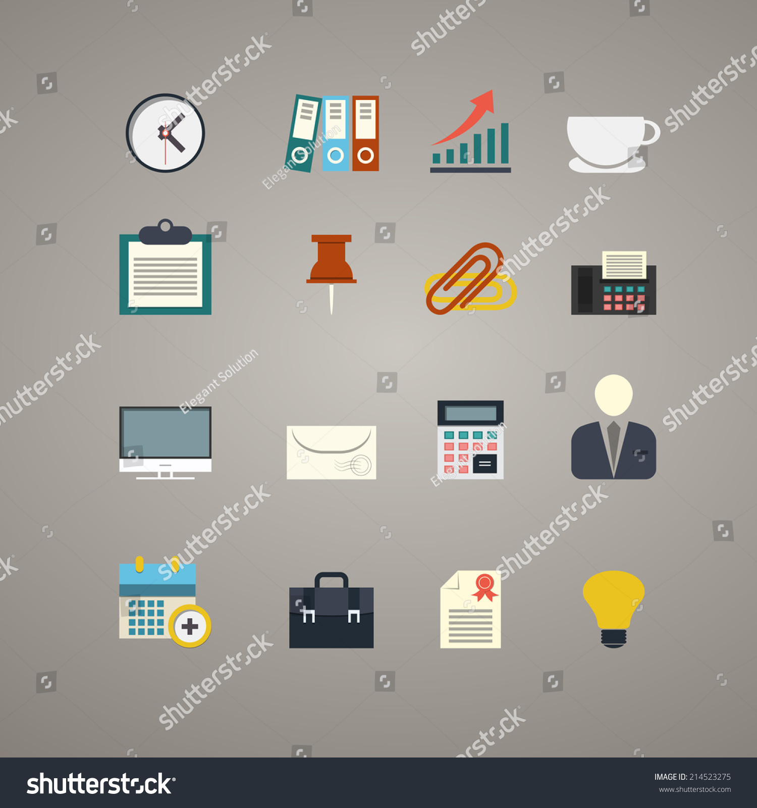 vector set of flat icons for office work job lcd monitor clock vector set of flat icons for office work job lcd monitor clock book for accountant rising bar graph arrow cup sheet of paper fastener