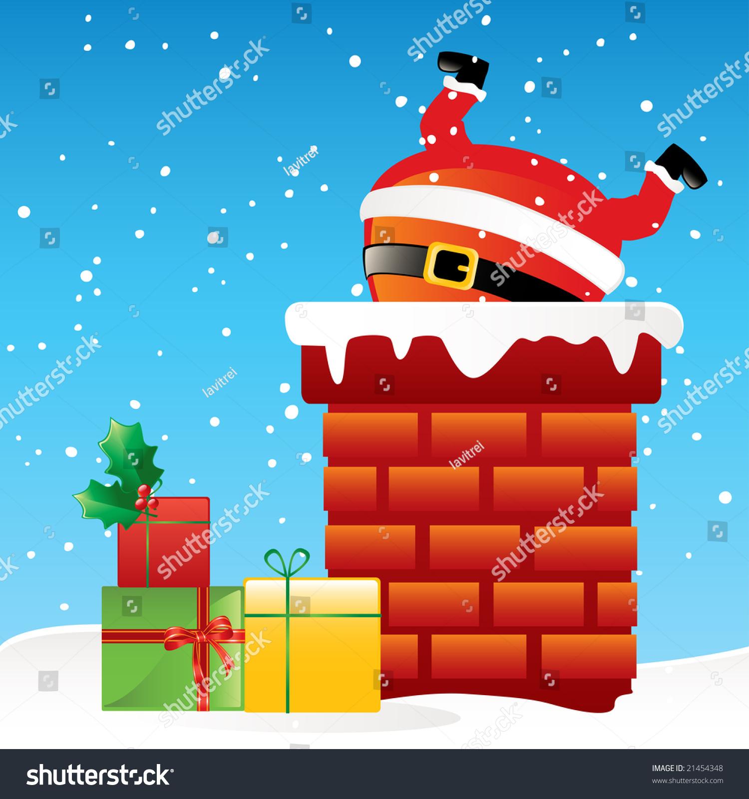Funny Santa Claus Stuck Chimney On Stock Vector 21454348
