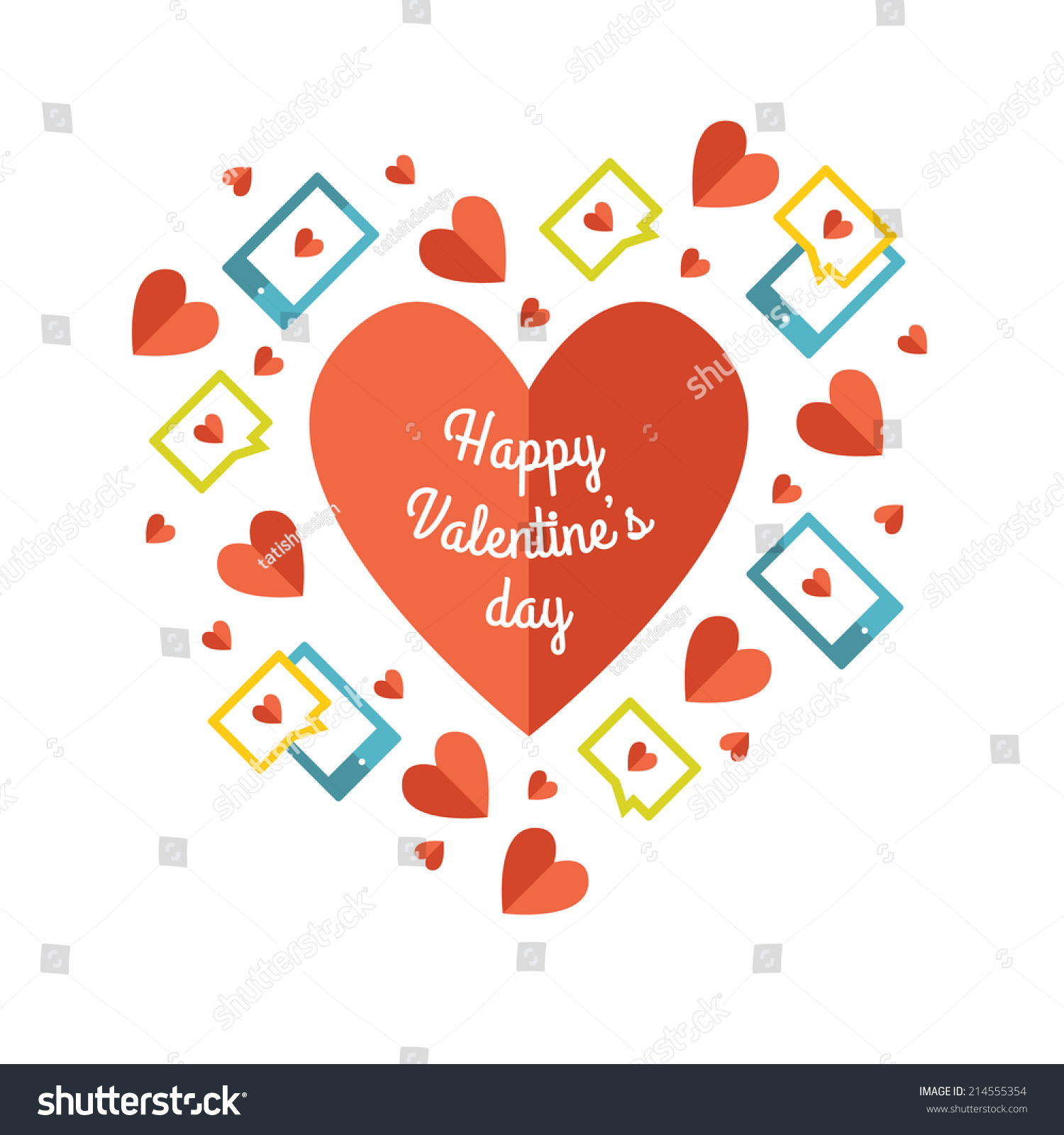 Love Greeting Card Love Sms Messages Stock Illustration 214555354