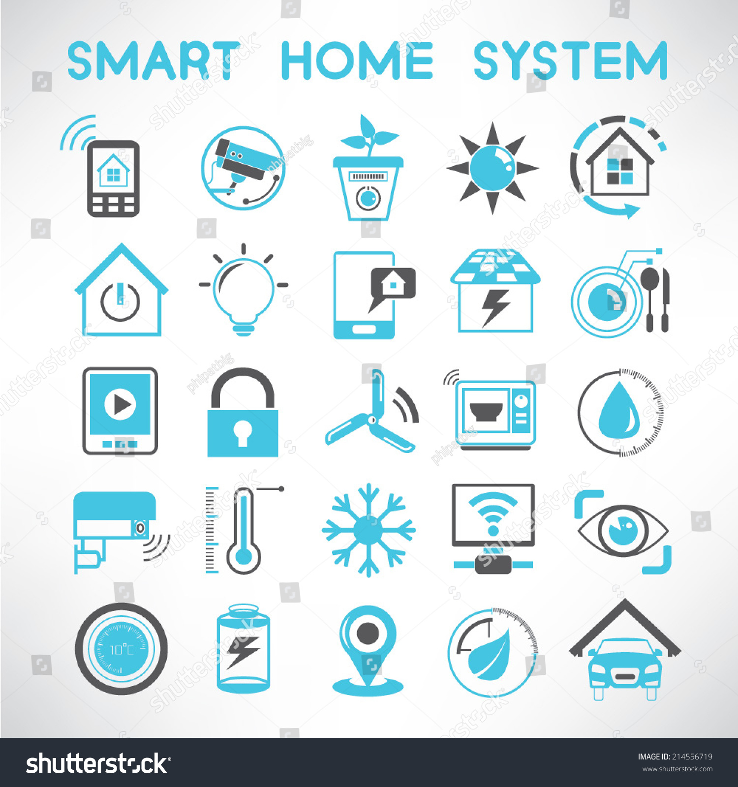 smart home icons set home automation stock vector 214556719 shutterstock. Black Bedroom Furniture Sets. Home Design Ideas