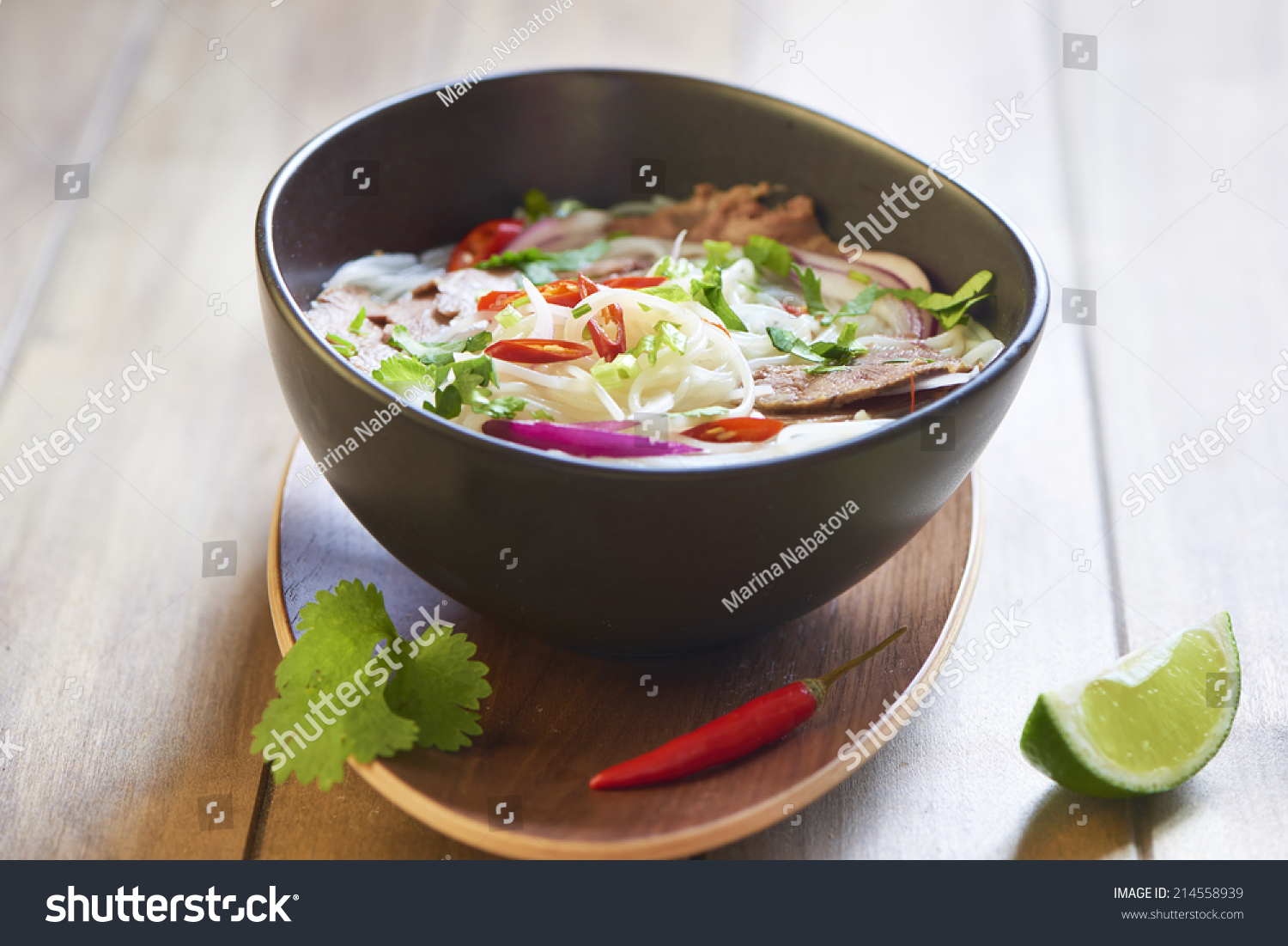 Pho Bo, Vietnamese Food, Rice Noodle Soup With Sliced Beef Stock Photo ...