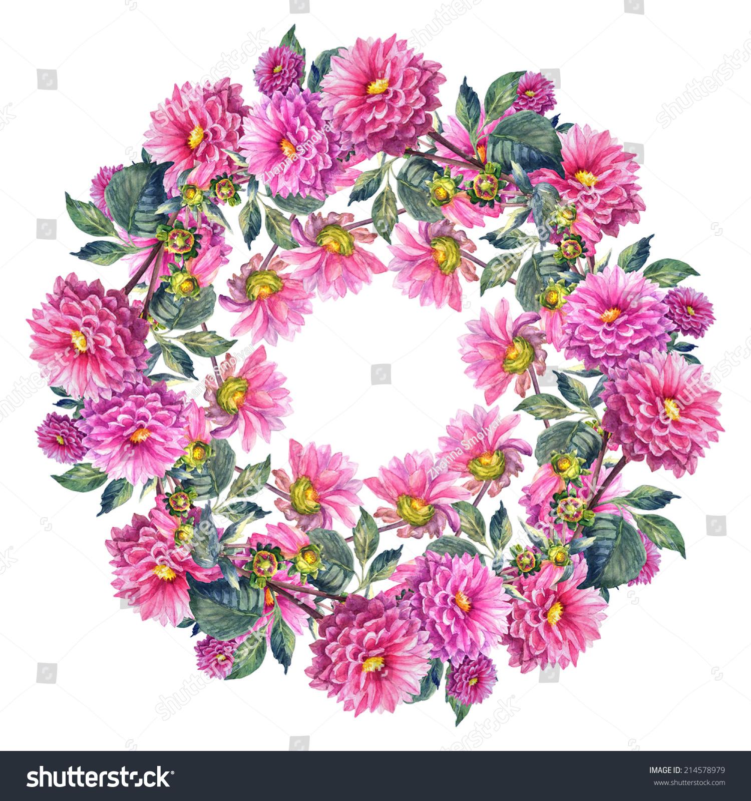 Beautiful pink dahlias flowers garland template stock illustration beautiful pink dahlias flowers garland template watercolor hand painted illustration izmirmasajfo
