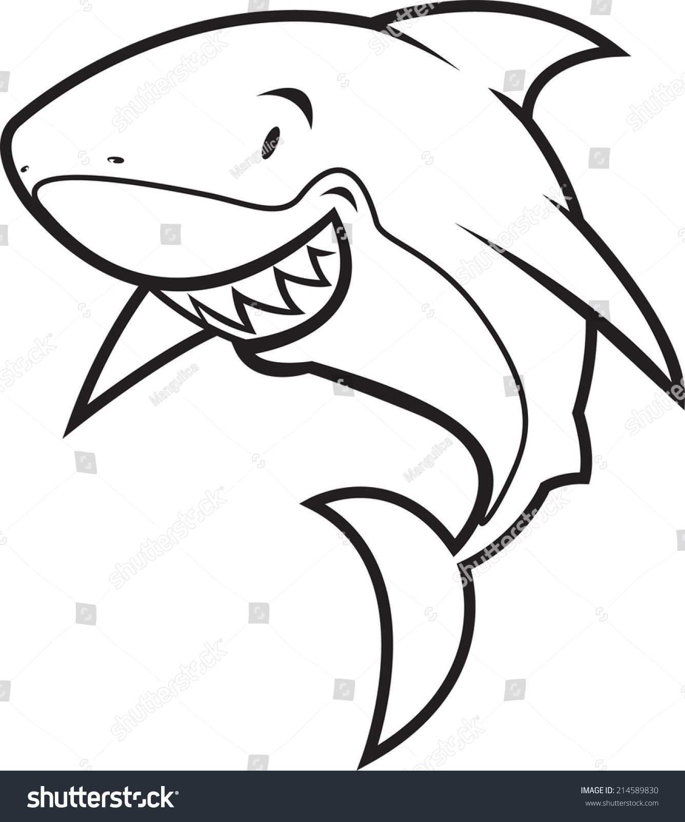 Coloring Book Shark Vector Illustration