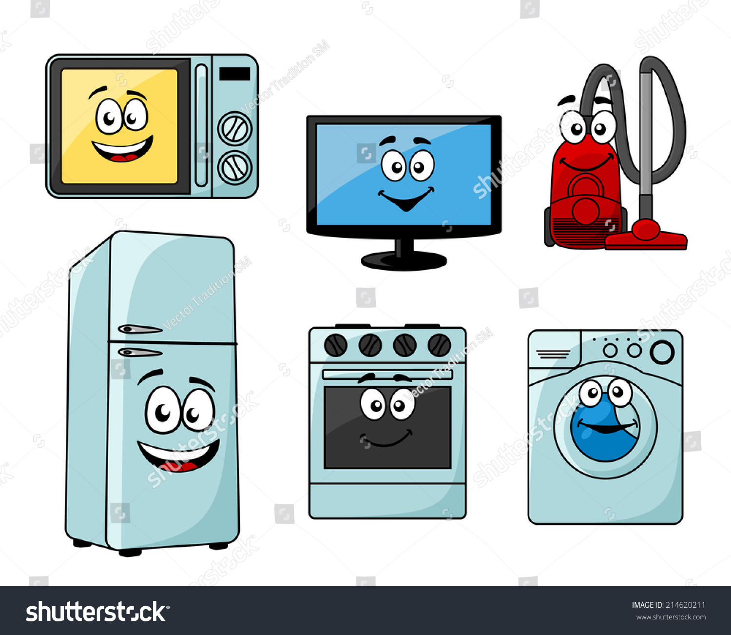 Kitchen Appliances Clip Art ~ Cartoon household appliances set microwave tv stock vector