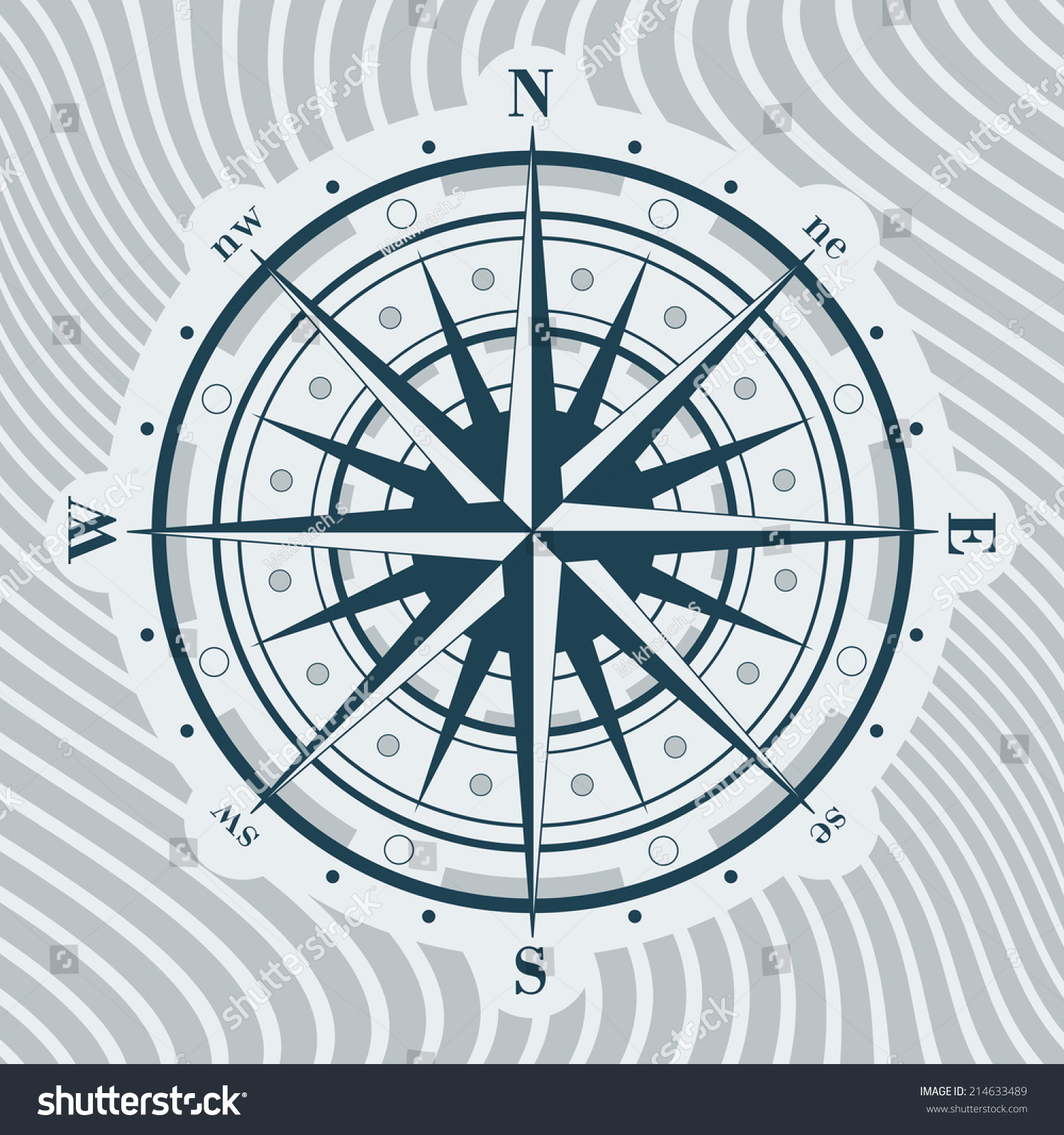 Compass Rose Over Wavy Background Vector Stock Royalty Free 360 Degree Diagram Illustration