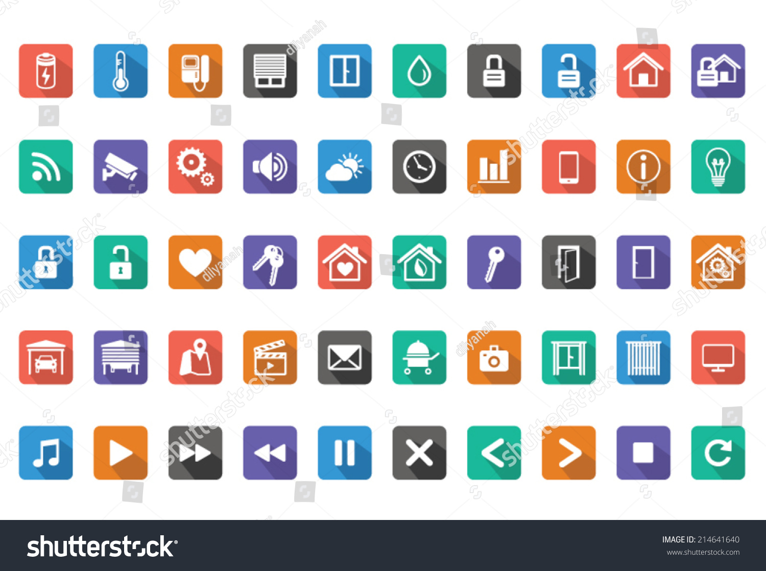 home automation smart home icon setvector stock vector 214641640 shutterstock. Black Bedroom Furniture Sets. Home Design Ideas