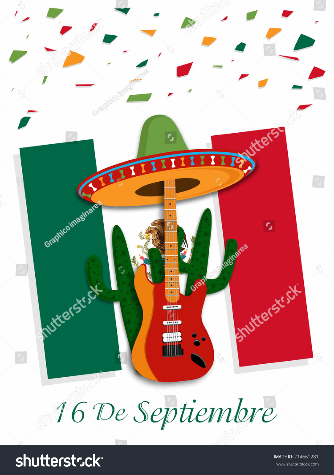 illustration mexican flag independence day mexico stock vector