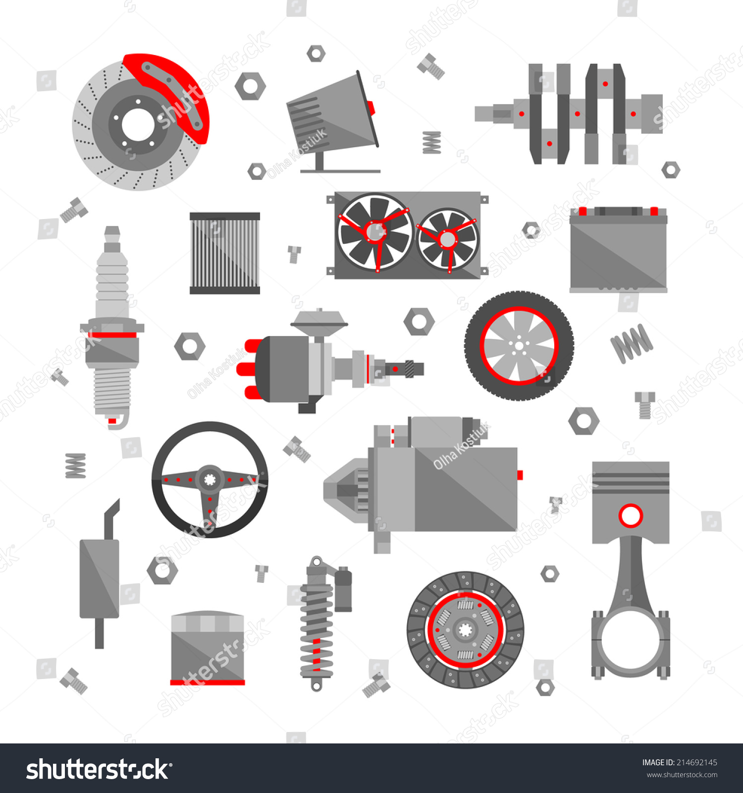 Replacement Auto Parts : Set auto spare parts isolated on stock vector