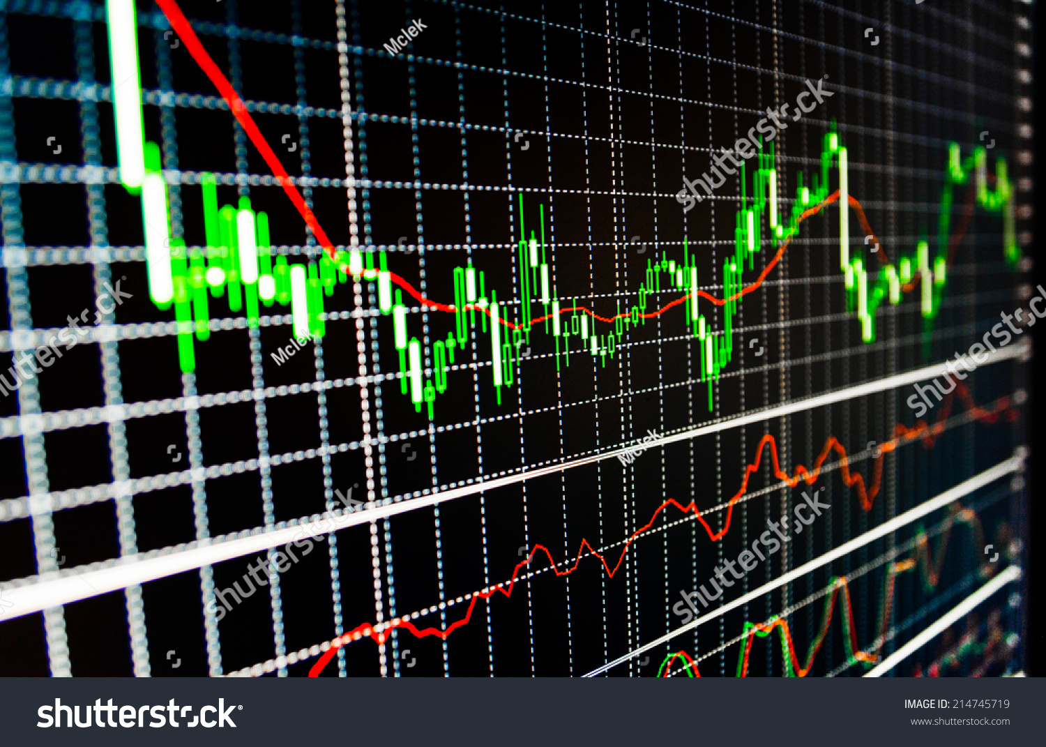 Stock market graph bar chart stock stock photo 214745719