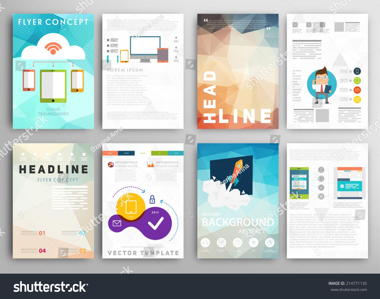 online design brochure - set flyer brochure design templates geometric stock vector
