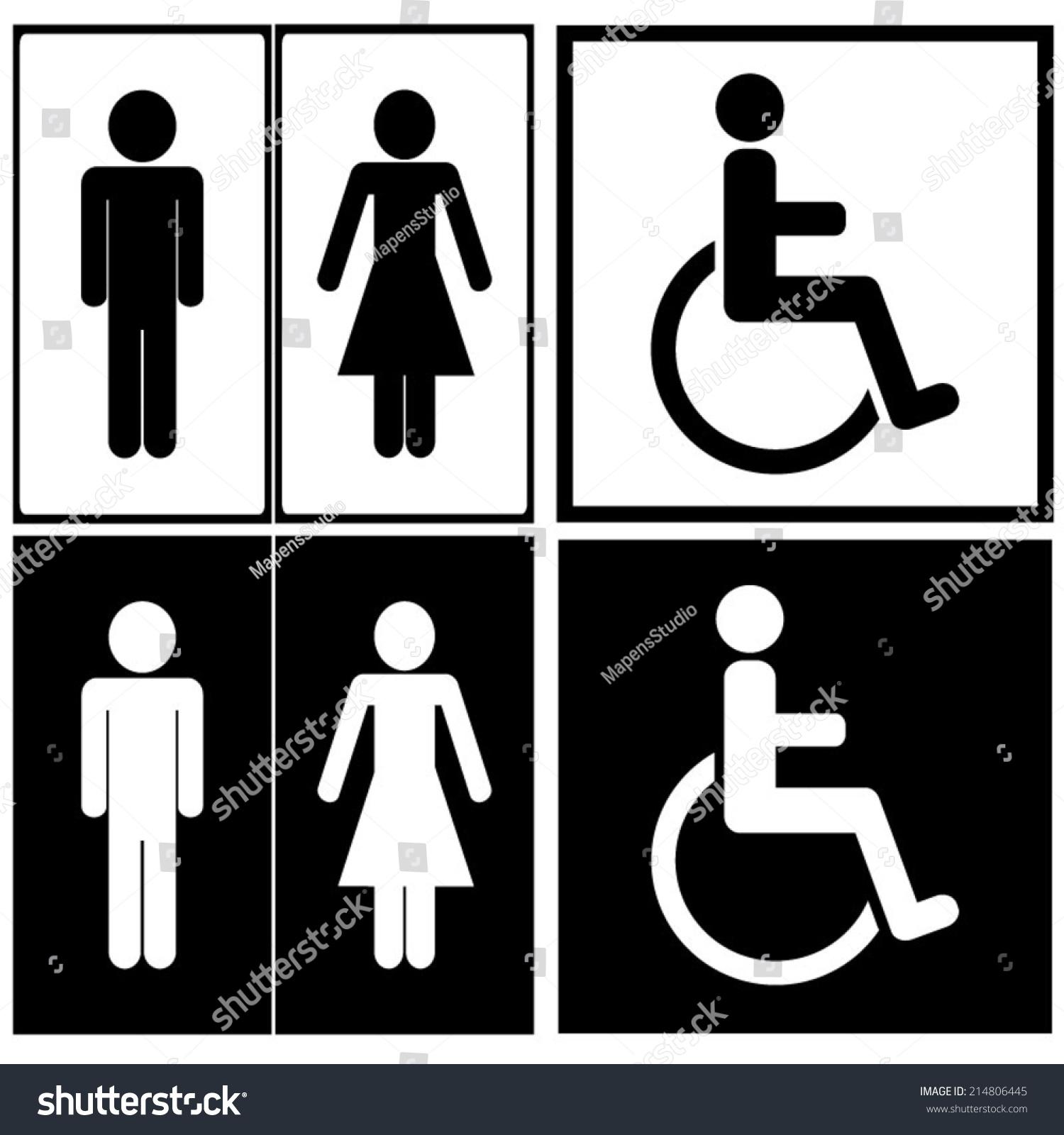 Man Women And Handicap Toilet Sign