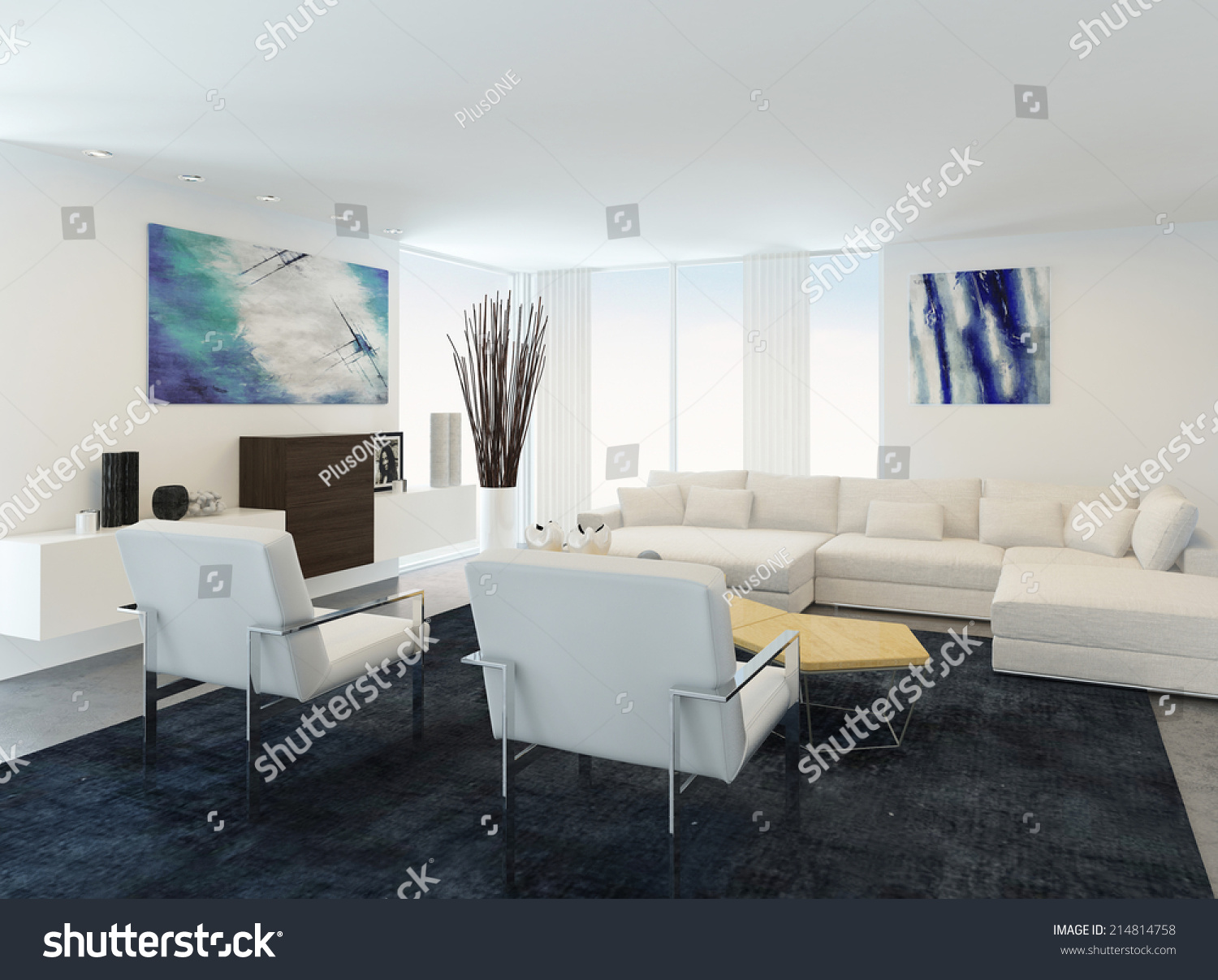 Modern White Sitting Or Living Room Interior With A Comfortable Modern