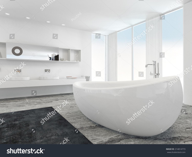 Very Spacious Bright Modern Bathroom Interior Stock