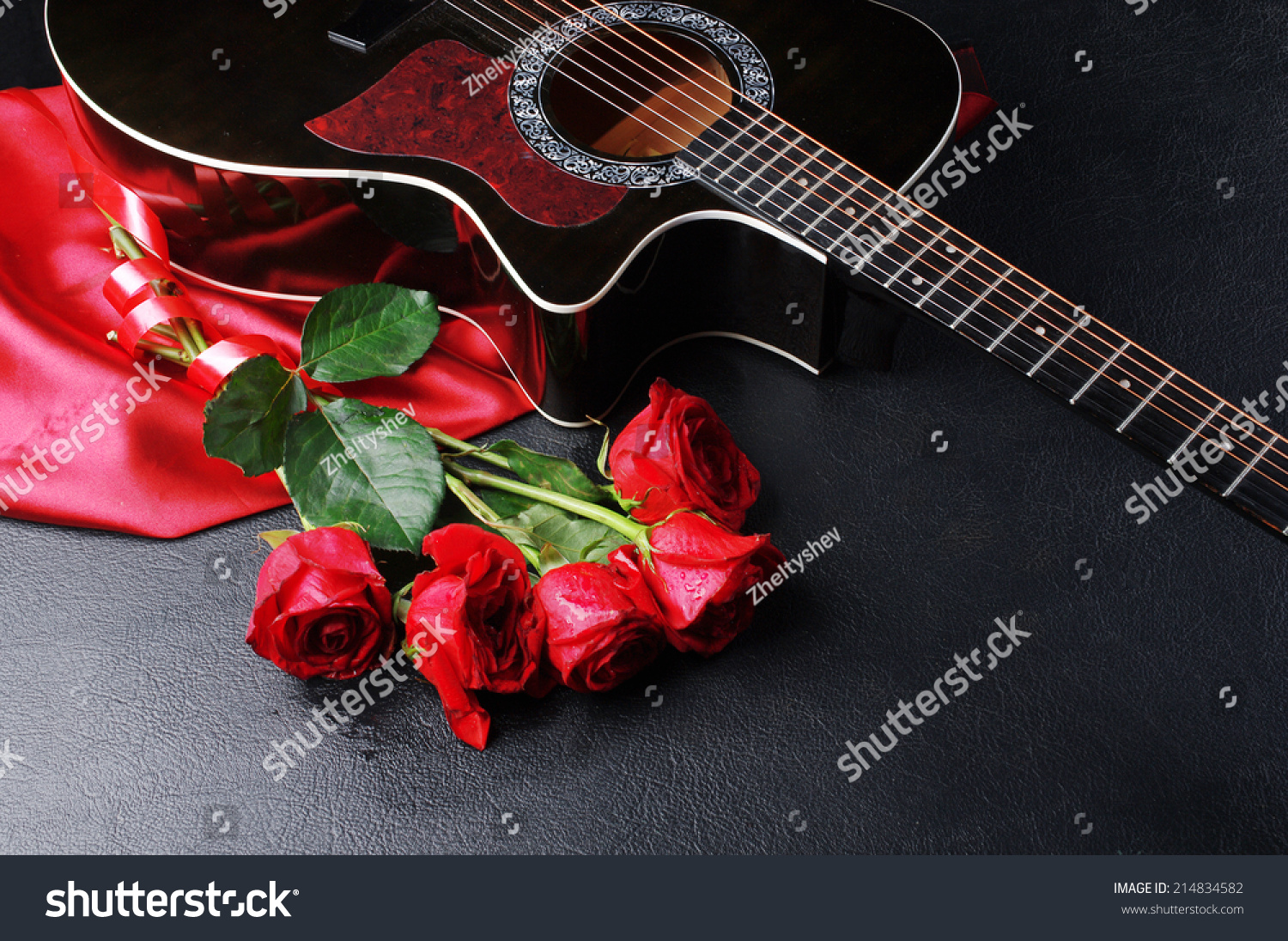 Five Red Roses Guitar Drapery On Stock Photo Edit Now 214834582