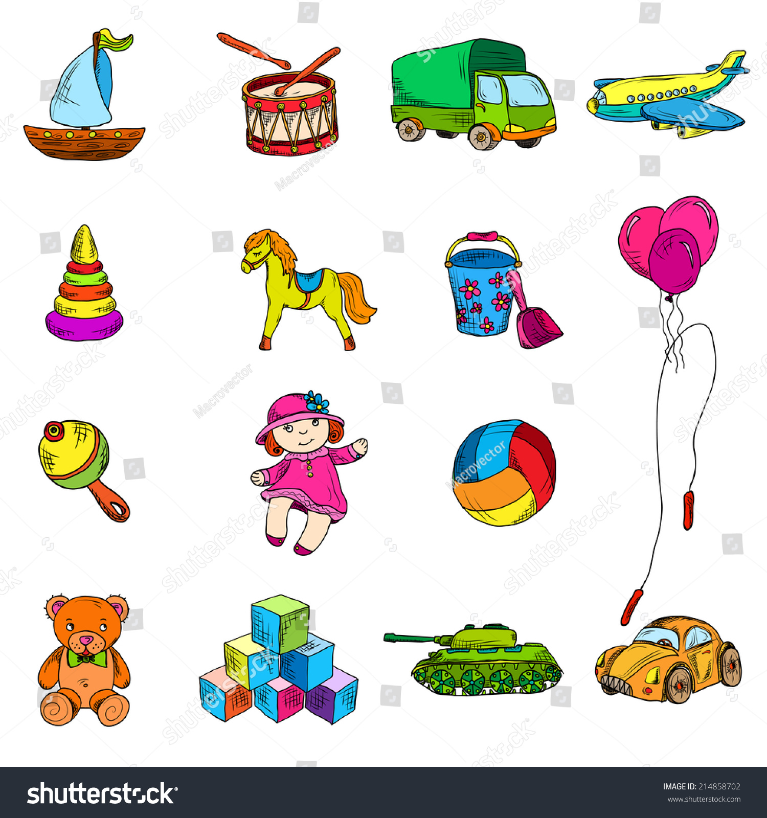 Vintage Kids Toys Color Sketch Icons Stock Vector