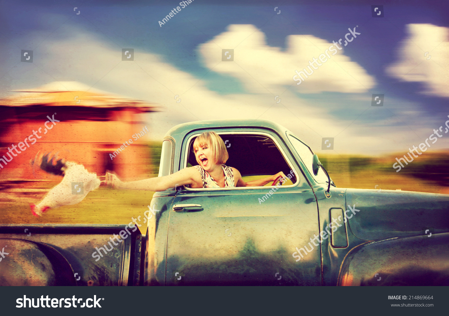Pretty Woman Driving Truck Past Red Stock Photo 214869664 ...