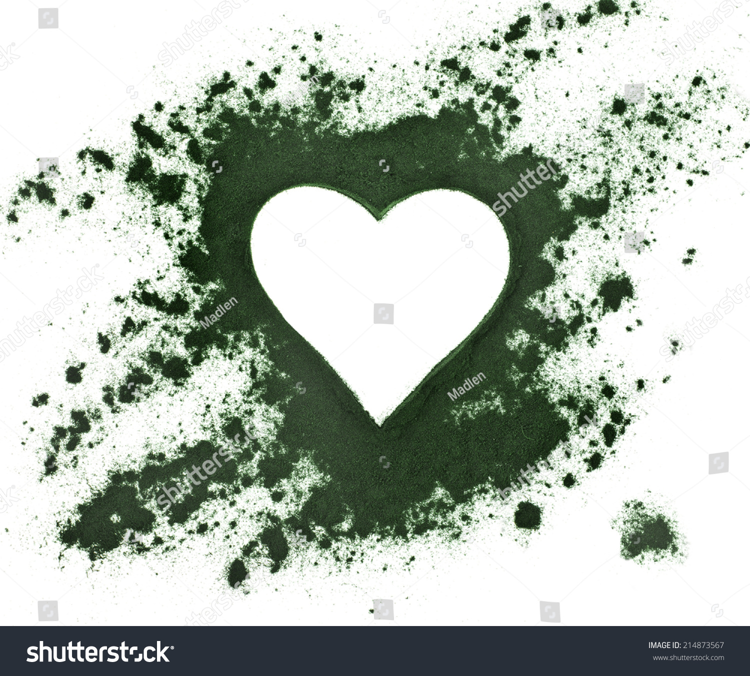 Spirulina Powder Algae Nutritional Supplement Shape Stock Photo Algea Top Black Heart Surface View Isolated On White
