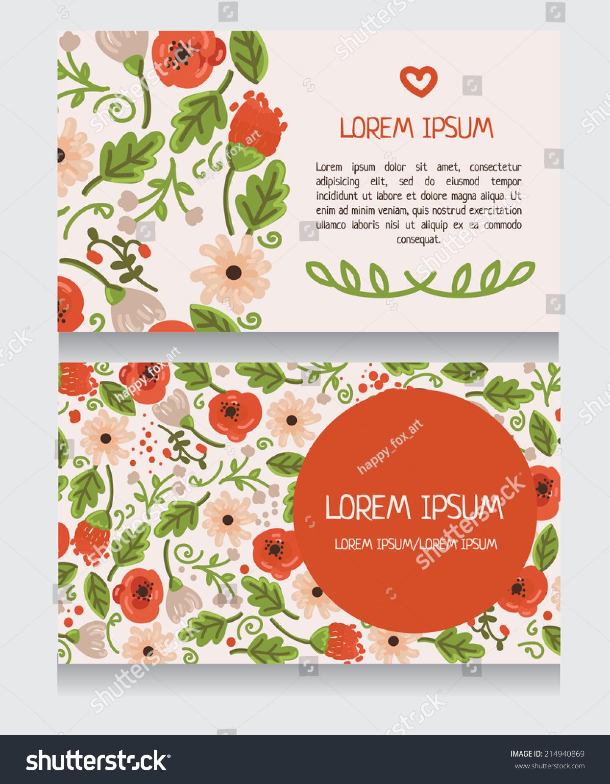 Beautiful floral business card invitation o stock vector hd royalty beautiful floral business card invitation o thank you card template vector illustration flashek Images