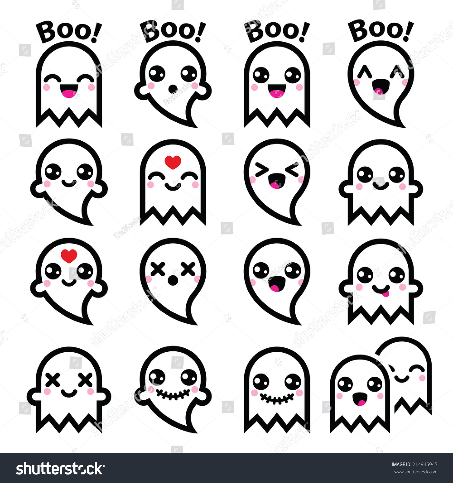 Kawaii Cute Ghost Halloween Icons Set Stock Vector