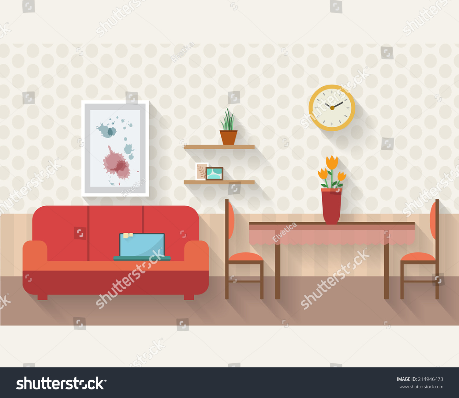 Living room and dining room with furniture and long for Room design vector