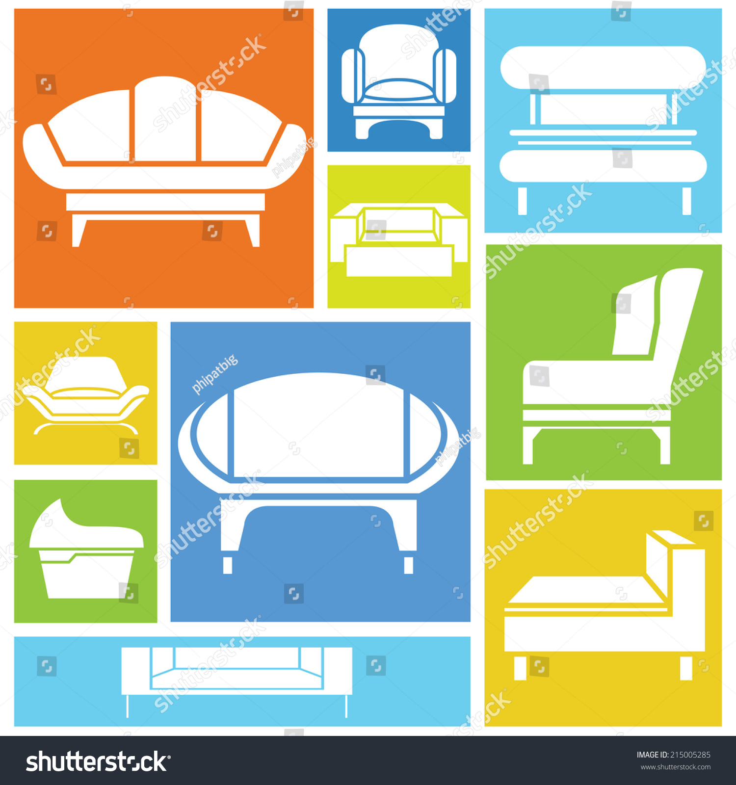Sofa Icons Interior Design Concept Background Stock Vector Royalty Free 215005285