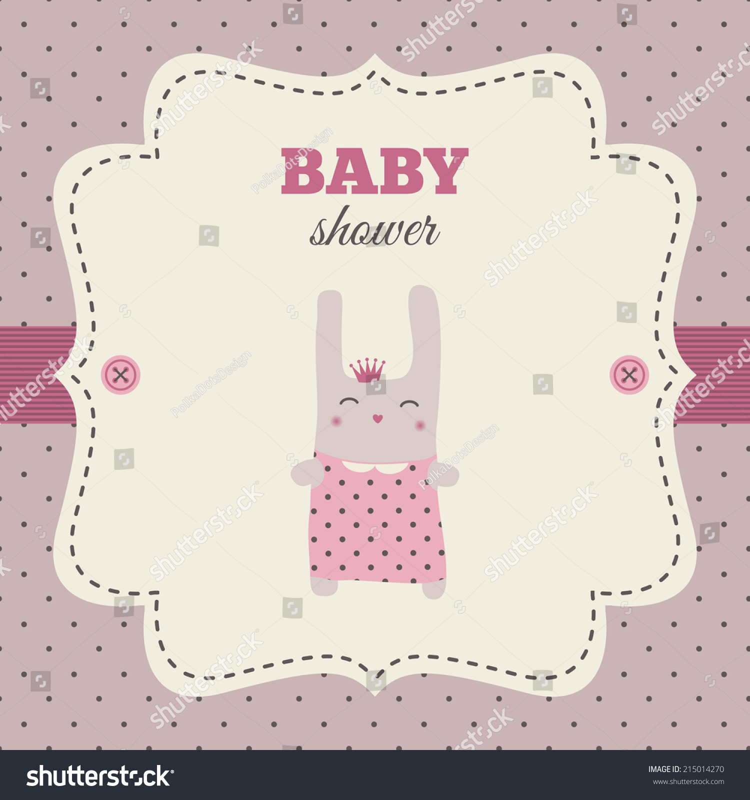 Baby Shower Invitation Pink Cream Colors Stock Vector 215014270 ...