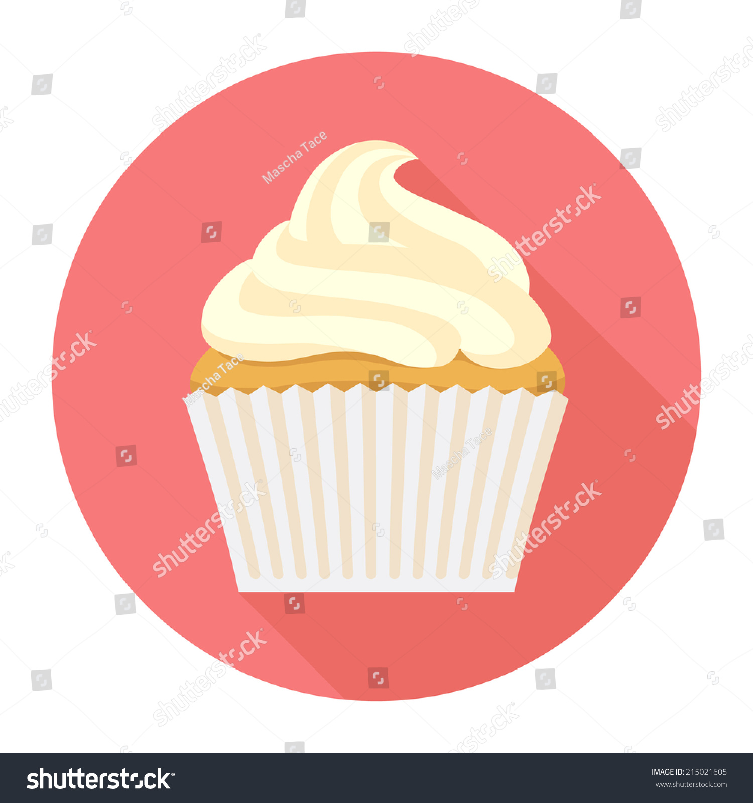 Cake With Icing Vector : Vector Vanilla Cupcake Frosting Round Icon Stock Vector ...