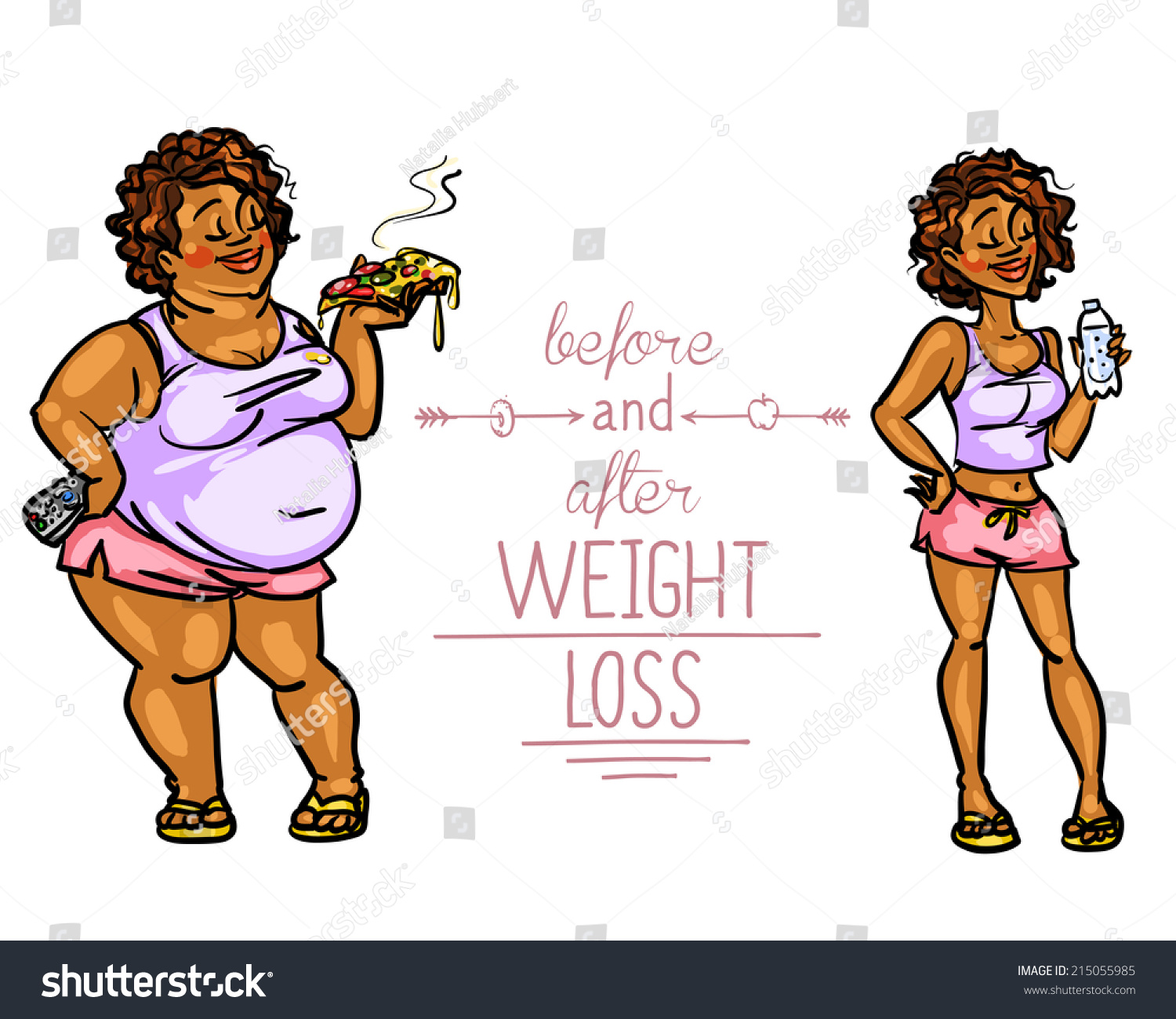 Woman Before After Weight Loss Cartoon Stock Vector Royalty Free 215055985