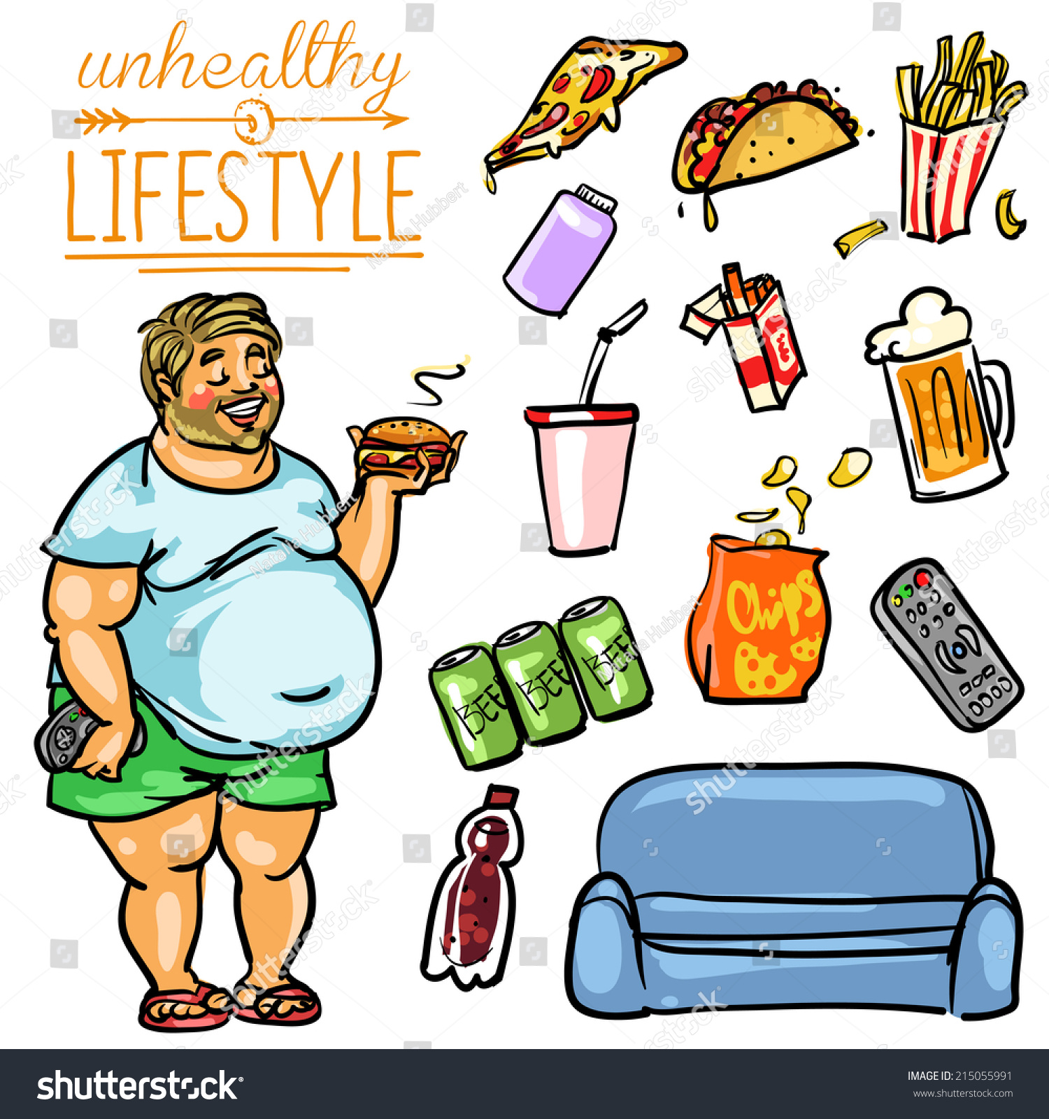 Unhealthy Lifestyle Hand Drawn Cartoon Collection Stock Vector 215055991 Shutterstock