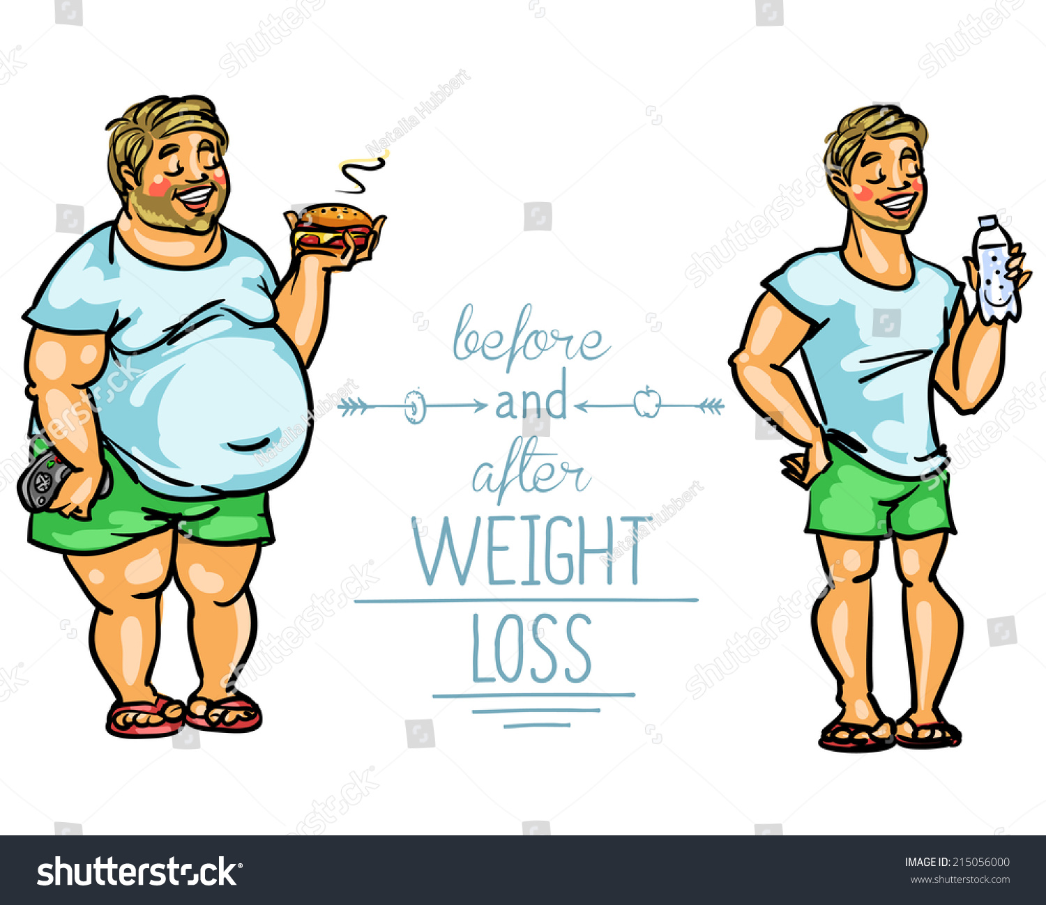 Man Before After Weight Loss Cartoon Stock Vector Royalty Free 215056000