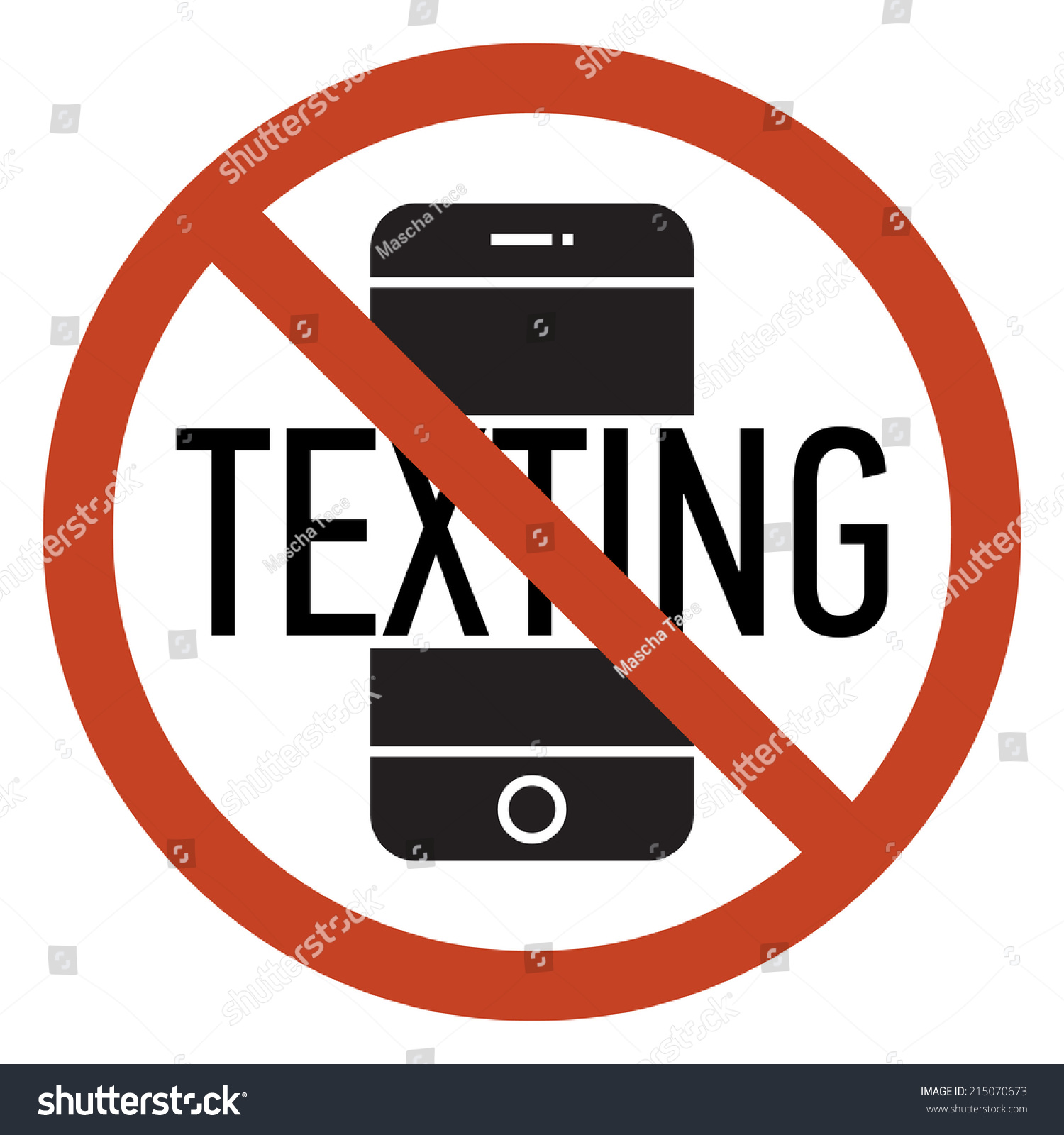 Vector mobile phone using texting restriction stock vector vector mobile phone using and texting restriction round sign with white background texting is not platinumwayz