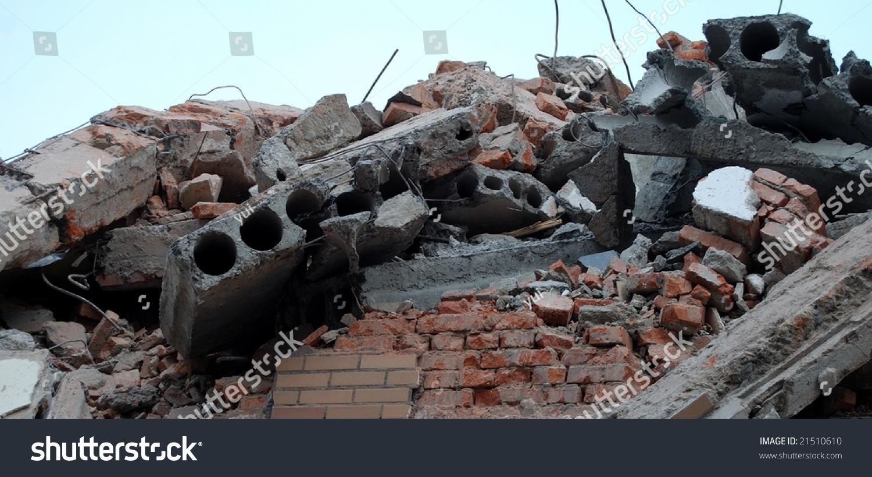Pile Of Building Debris : Pile bricks debris destroyed building stock photo