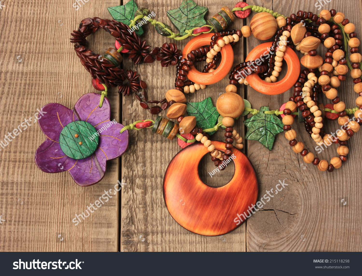 Wooden Handcraft Jewellery Texture Necklaces Stock Photo Edit Now