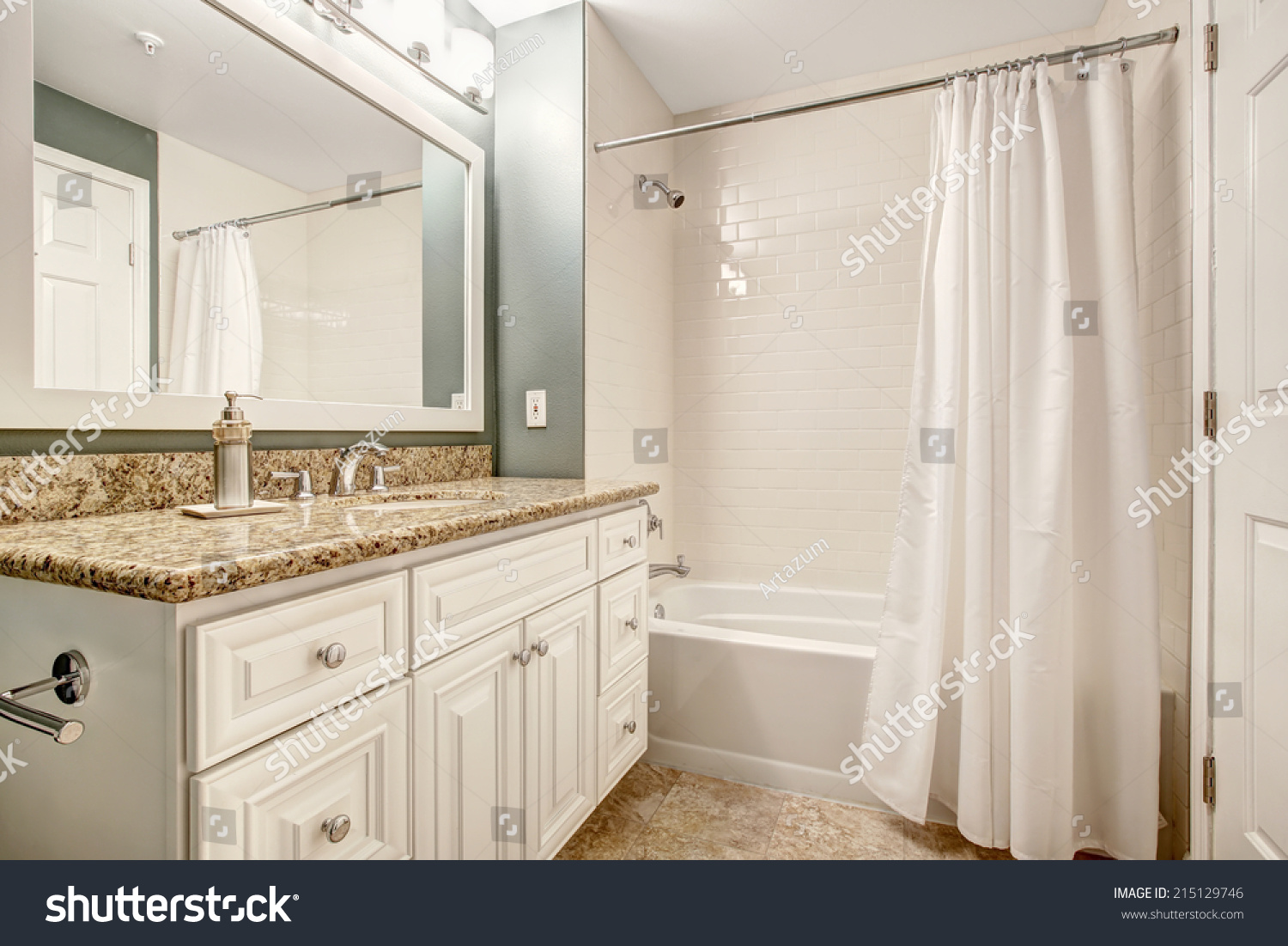 White Floor Bathroom Cabinet White Bathroom Vanity Cabinet Granite Top Stock Photo 215129746