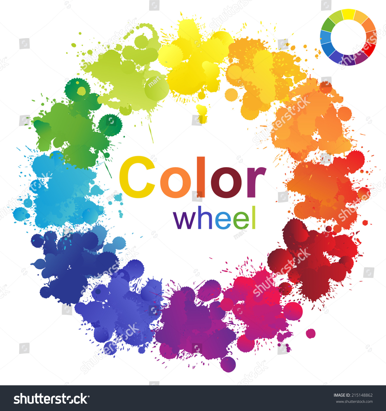 Creative Color Wheel Made Paint Splashes Stock Illustration