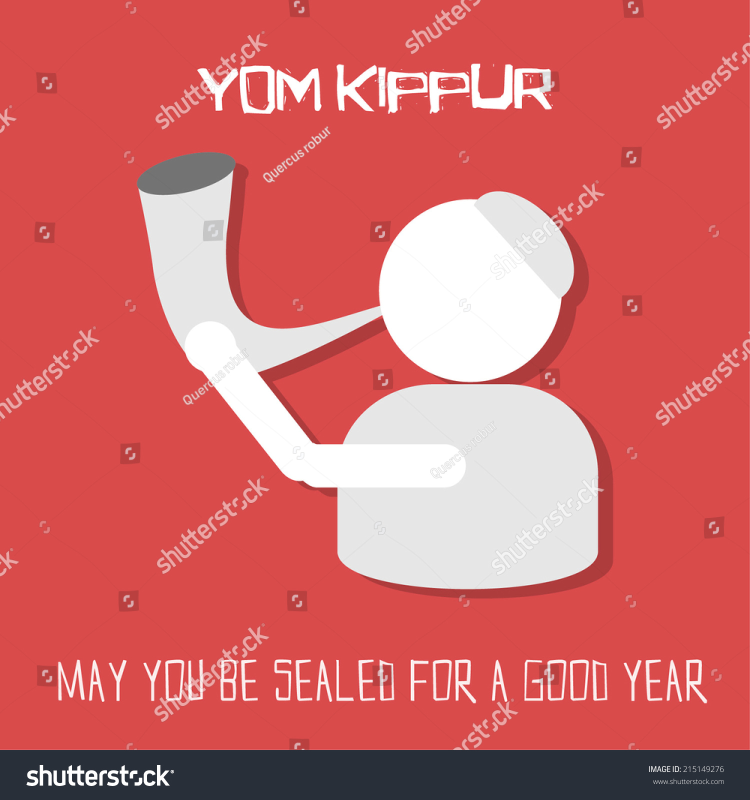 Yom Kippur Greeting Card Man Blowing Stock Vector Royalty Free