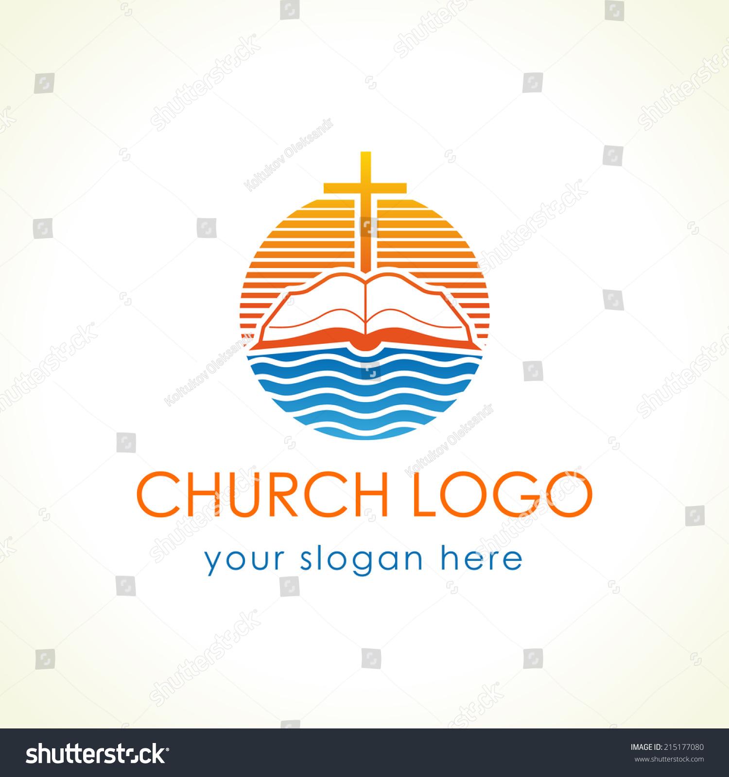 cross bible christian vector logo open stock vector 215177080