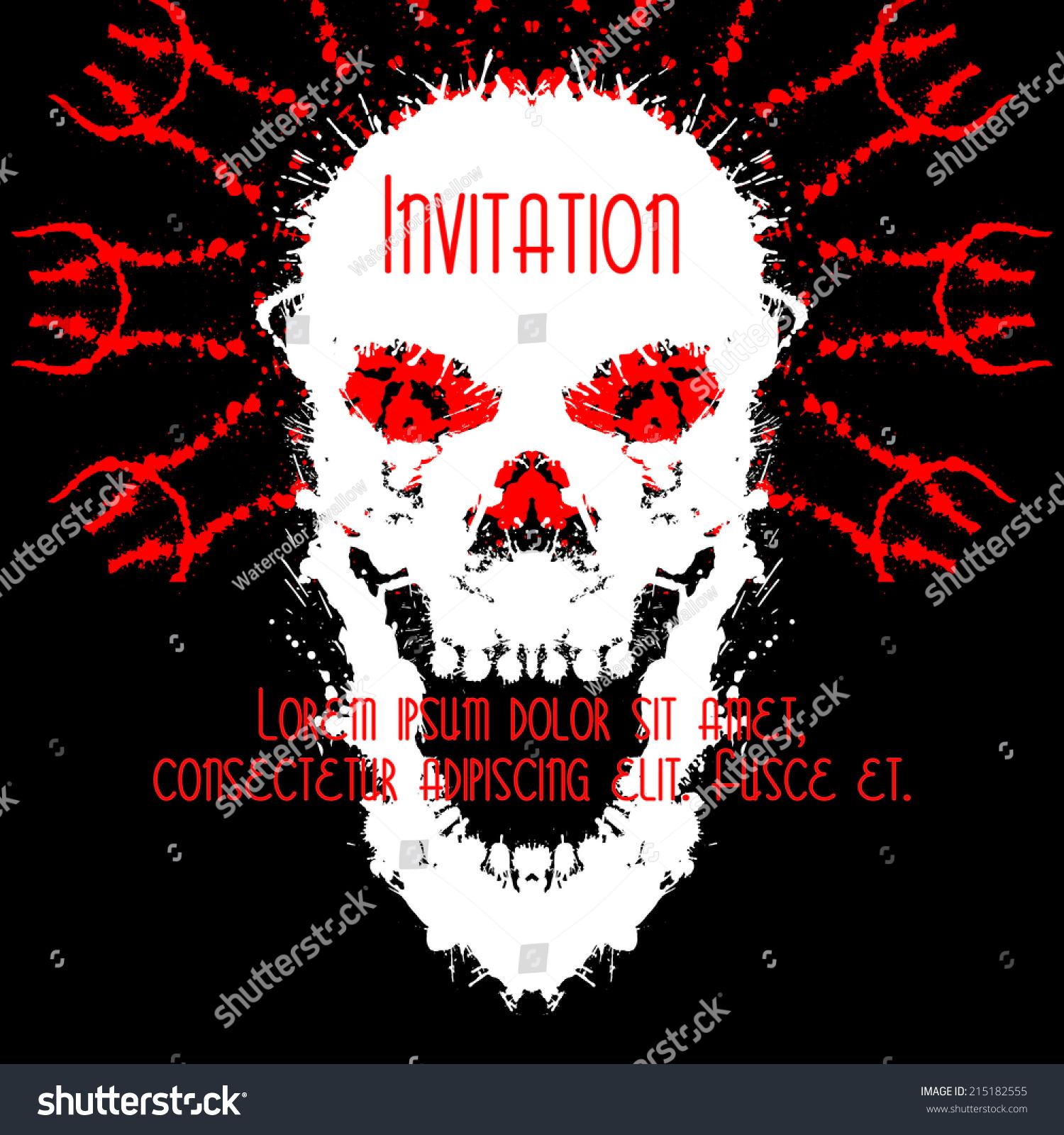 Scary Skulls Invitation Postcard Halloween Party Stock Vector HD ...