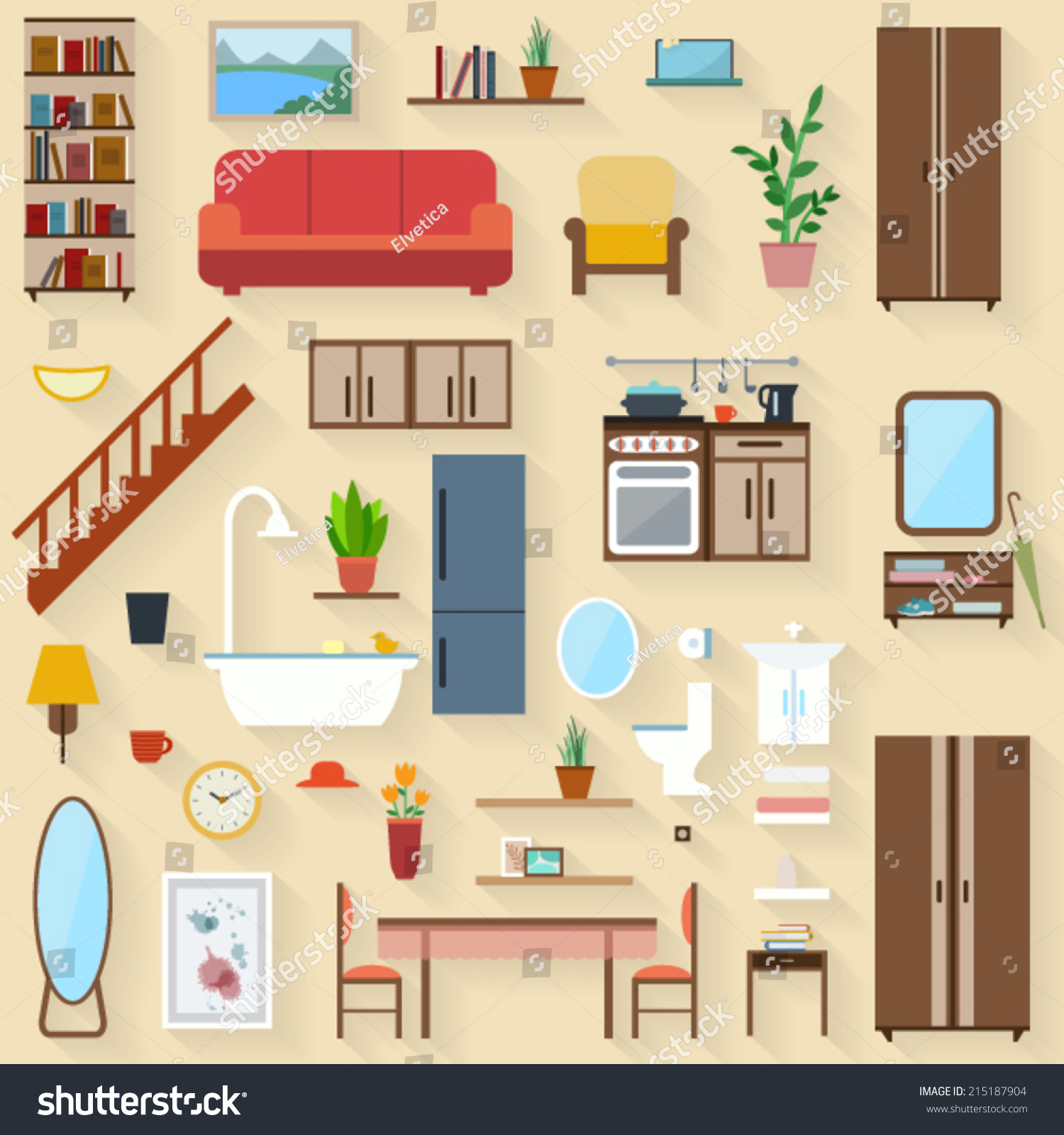 Kitchen Furniture Vocabulary: Furniture Set Rooms House Flat Style Stock Vector