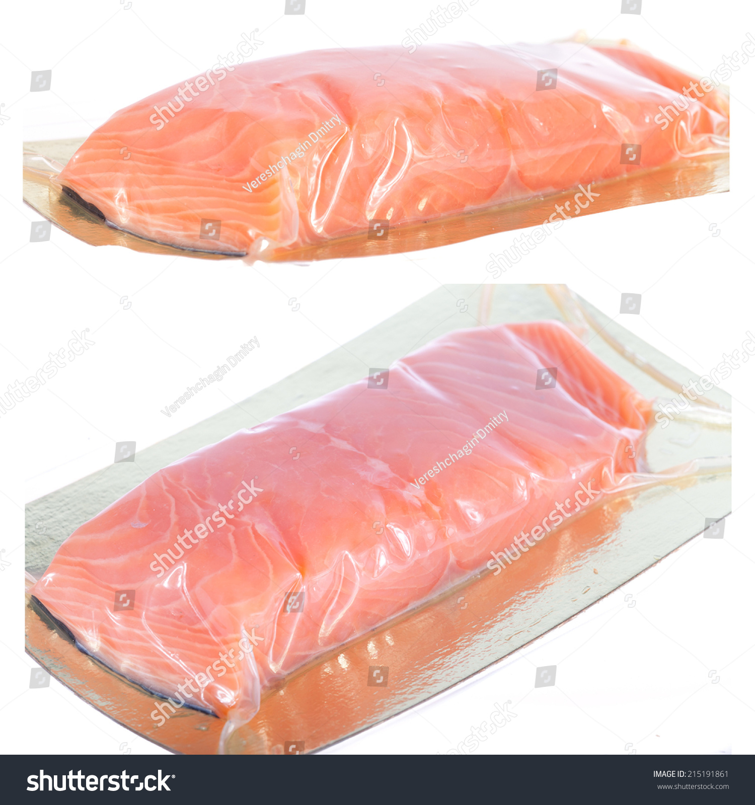 Piece of smoked fish in the plastic package stock photo for Piece of fish