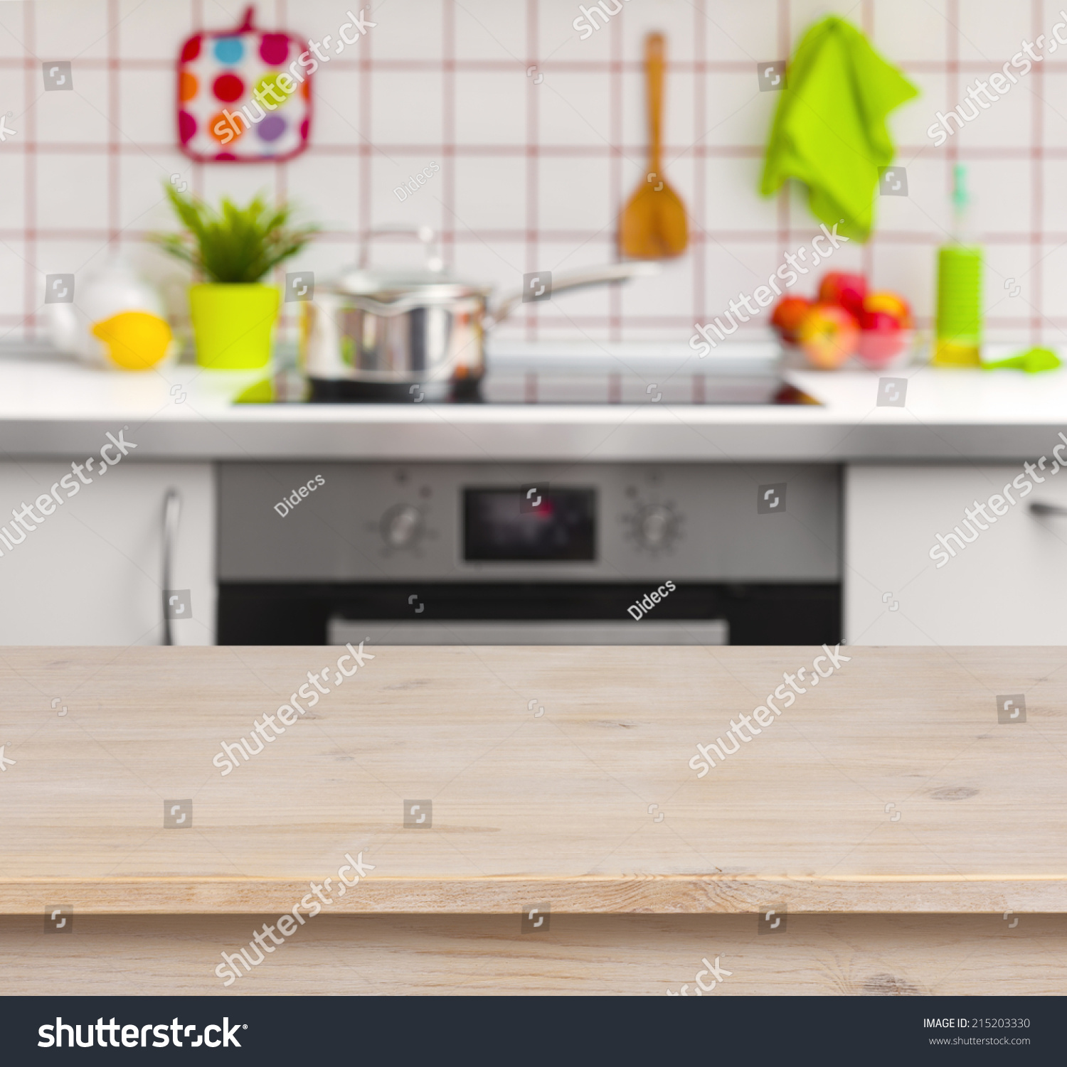 Kitchen Background Image: Wooden Table On Blurred Kitchen Bench Background Stock