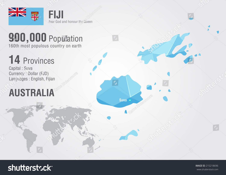 Fiji World Map Pixel Diamond Texture Stock Vector (Royalty Free ...