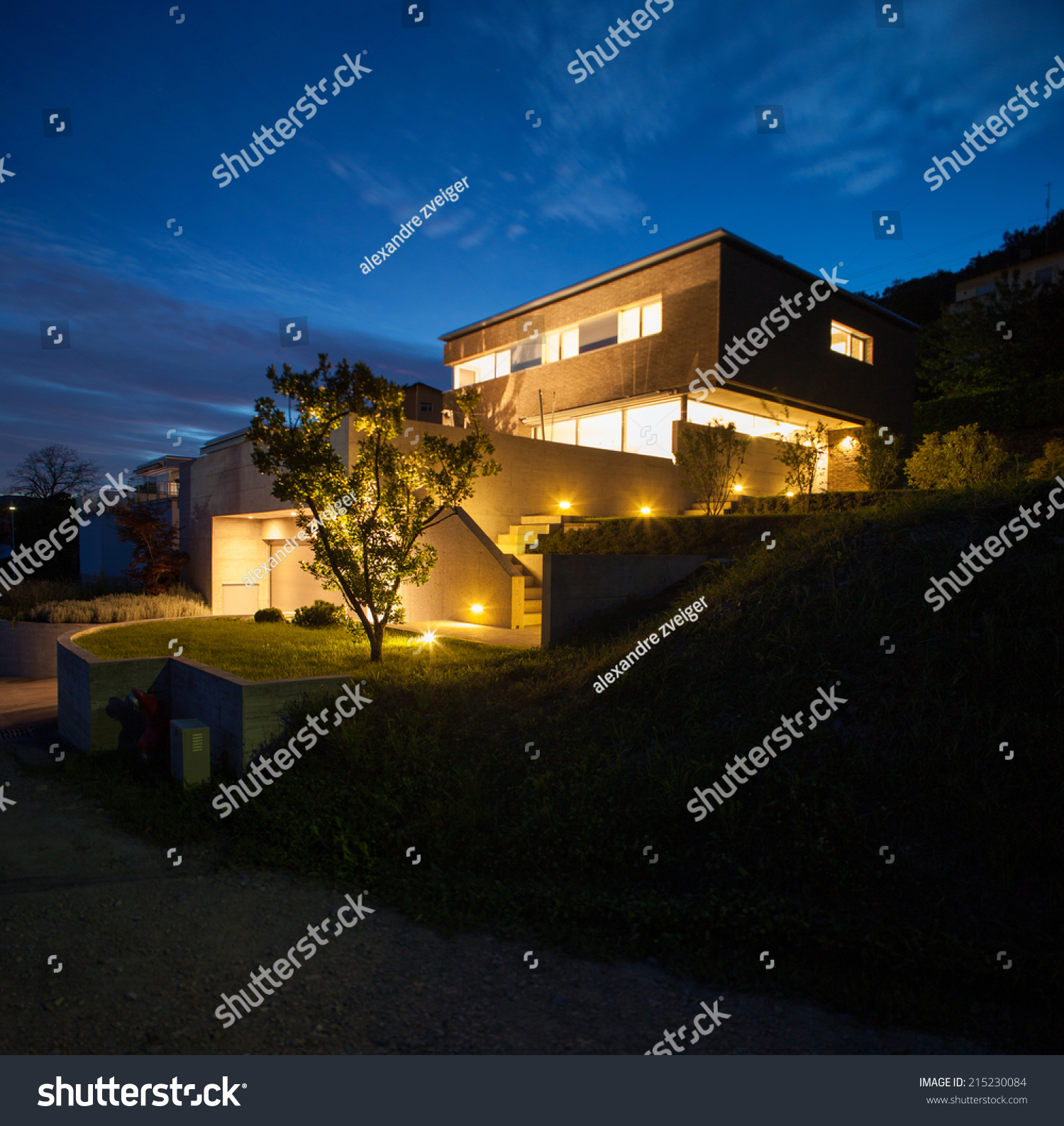 House modern design night view stock photo 215230084 for Modern house at night