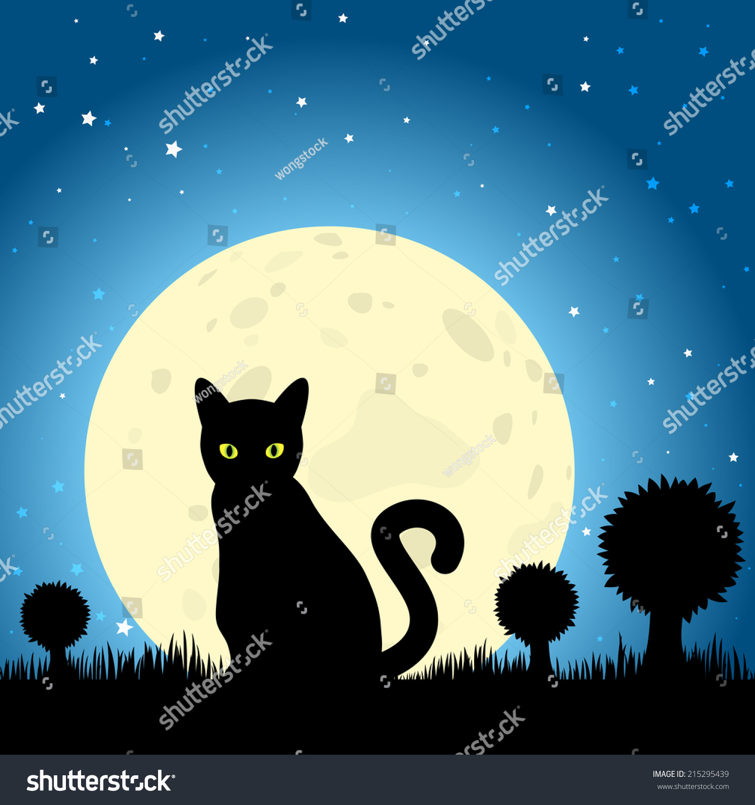 halloween black cat silhouette against a moon night sky eps10 vector - Black Cat Silhouette Halloween