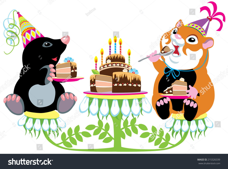Cartoon Mole Hamster Eating Birthday Cake Stock Vector Royalty Free