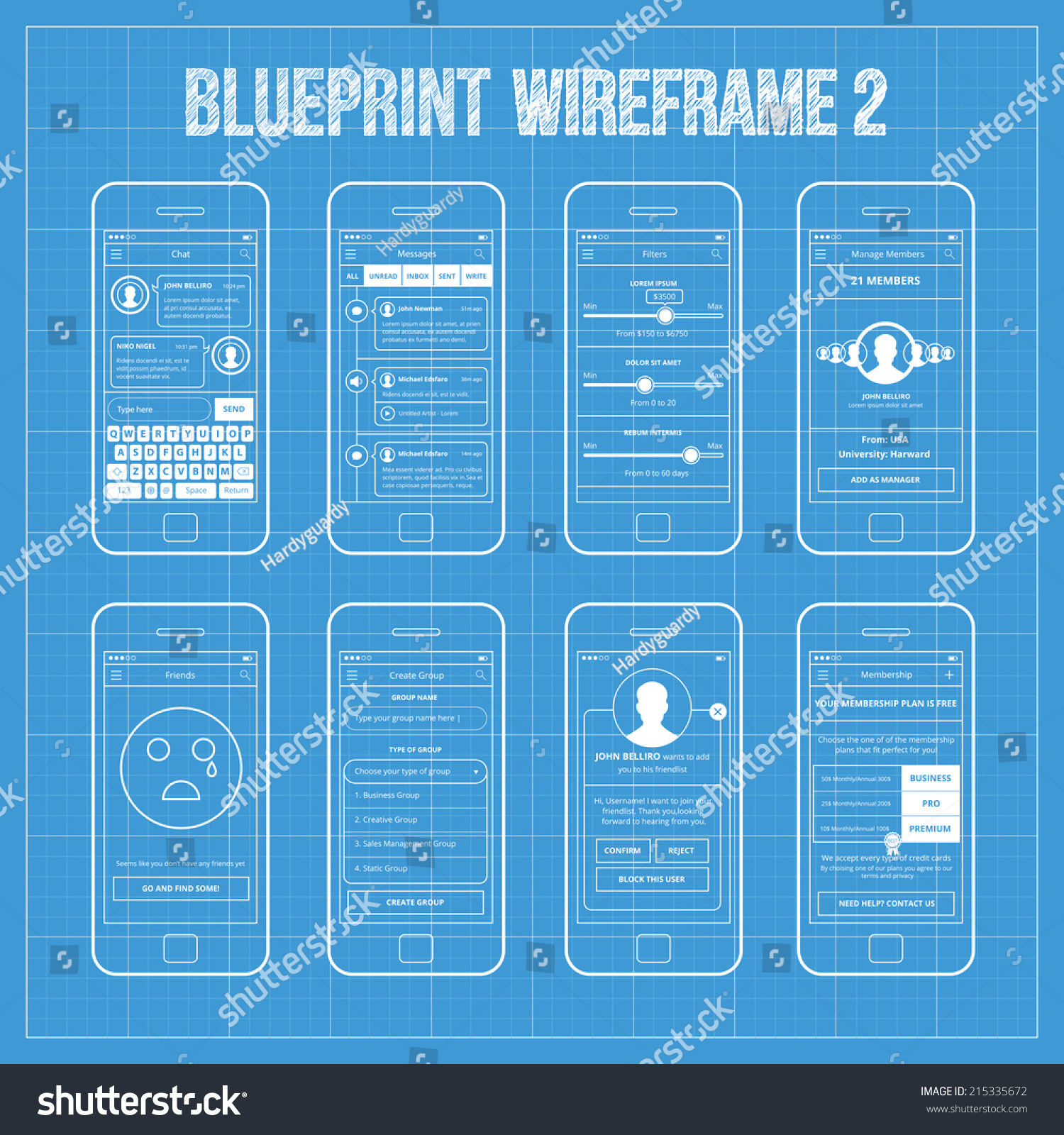 Royalty free blueprint wireframe mobile app ui kit 215335672 blueprint wireframe mobile app ui kit 2 chat screen messages screen filters screen manage members screen friends screen create group screen malvernweather Choice Image