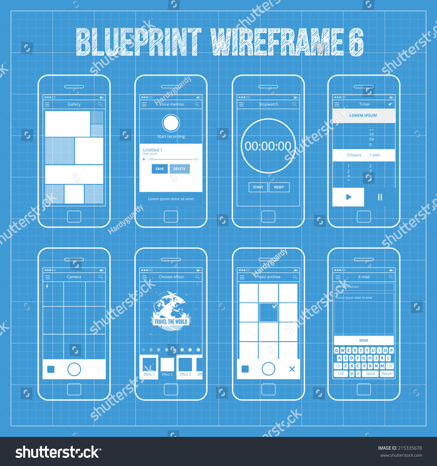 Blueprint wireframe mobile app ui kit stock vector 215335678 blueprint wireframe mobile app ui kit 6 gallery screen voice memos screen stopwatch malvernweather Image collections
