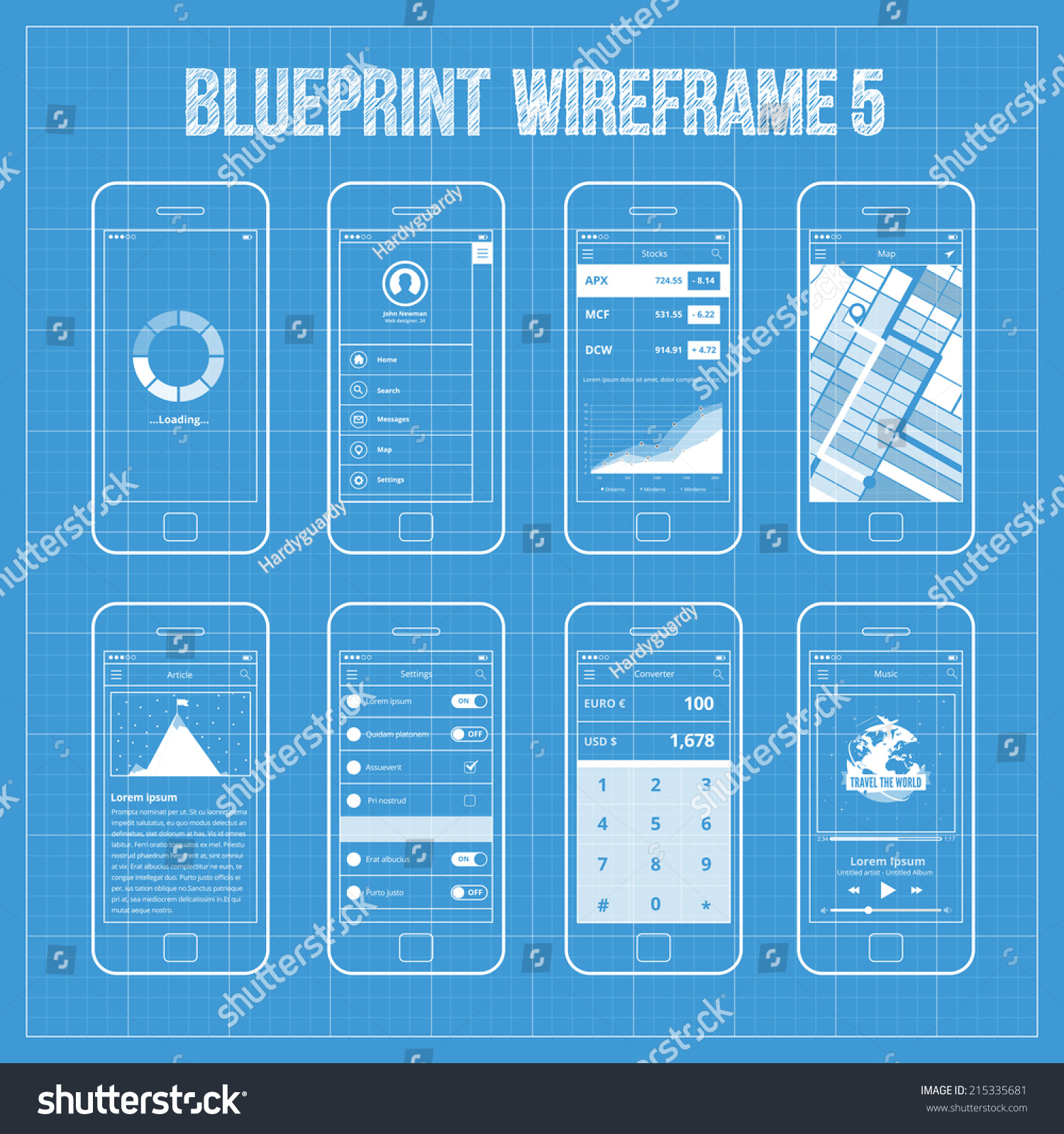 blueprint wireframe mobile app ui kit stock vector