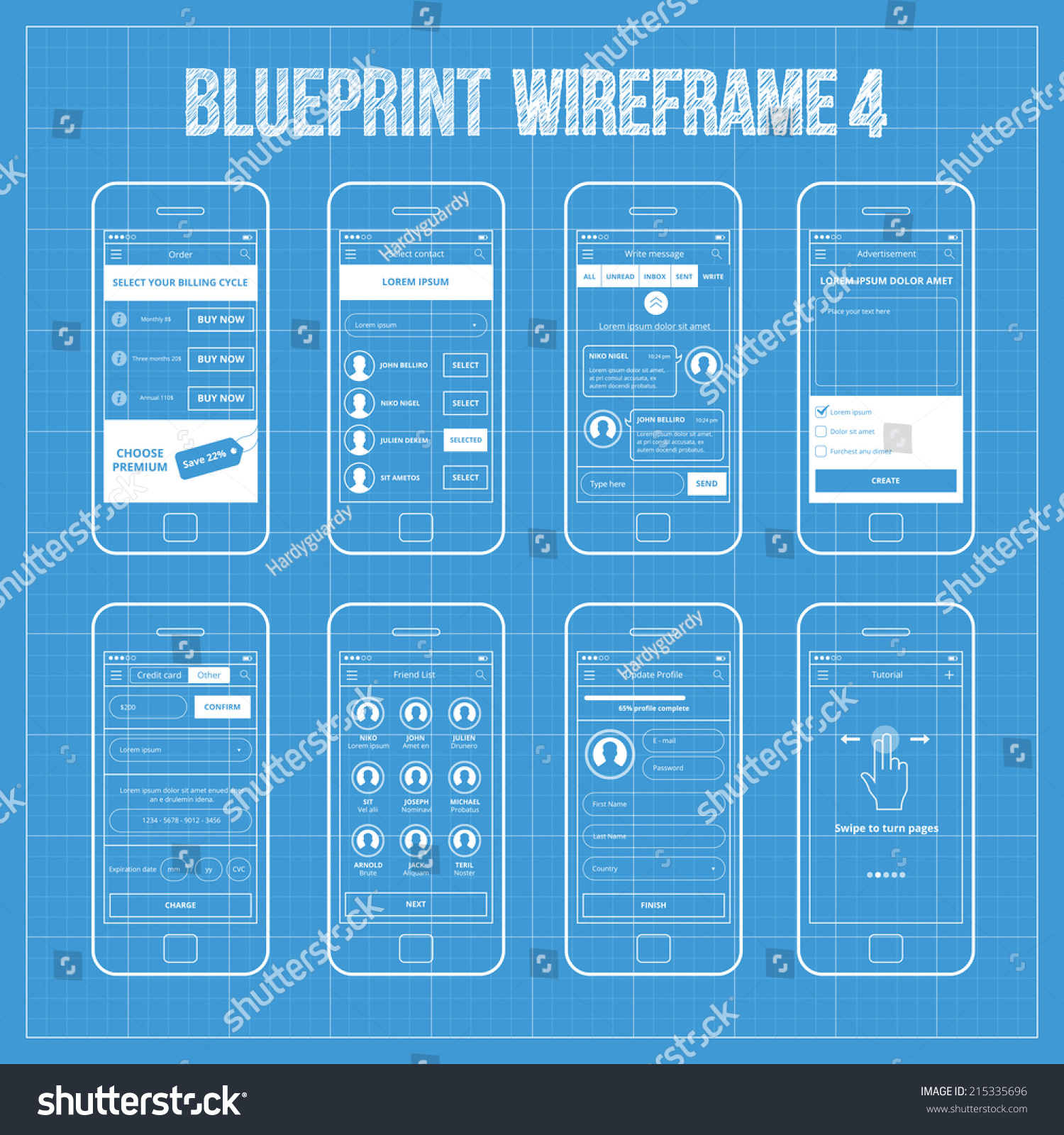 Blueprint wireframe mobile app ui kit vectores en stock 215335696 blueprint wireframe mobile app ui kit 4 order screen select contact screen write malvernweather Gallery