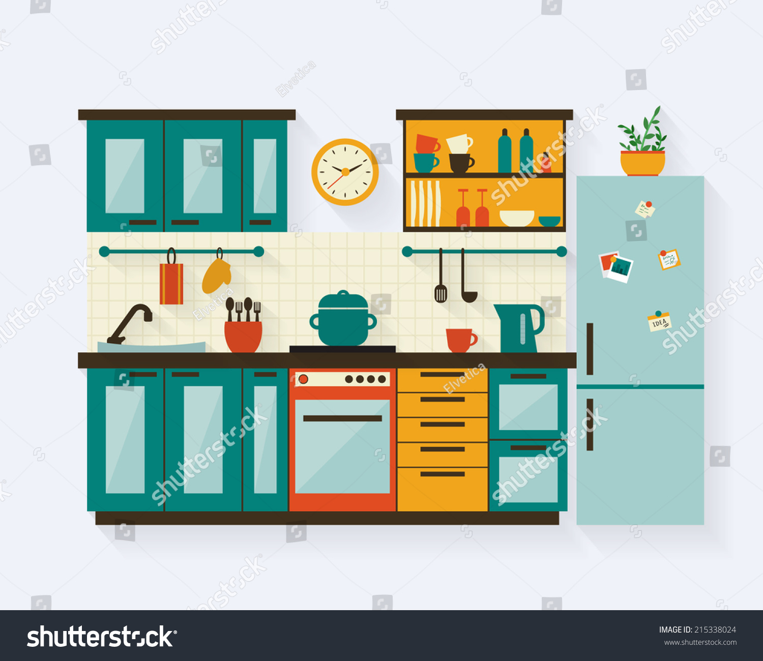 Kitchen Room Furniture Clipart: Kitchen With Furniture And Long Shadows. Flat Style Vector